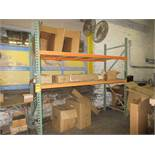 SECTION OF PALLET RACKING; (2) 8' UPRIGHTS, (4) 2 1/2'' X 96'' HORIZONTAL BEAMS, 36'' DEEP DECKING