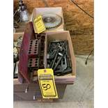 LOT OF HOLDOWNS, COLLETS, CAP BOLTS, SAW BLADES, (3) LIGHTS, HAMMER & GREASE GUN