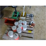Pallet with paint stripers, tool box, Stihl part