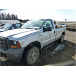 2005 Ford F-250 XL Super Duty, Reg. cab. 4x4, gas engine. W/ fuel tank and tool boxes. 160,686