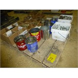 Pallet w/various size bolts, cable clamps