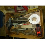 Box w/hacksaw, wrenches, misc tools
