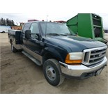 1999 Ford F350 Lariat Crew Cab, 4x4, 7.3 Diesel engine, 208,897 unverified miles, w/ utility bed.