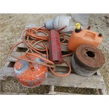 Pulley, gas can, light hose