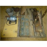 Pallet w/hand miter saw, electric motor, misc