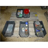 Pallet w/ 5 tubs, with bolts, funnel, misc. hardware