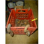 Crate w/chain, shackles, hooks
