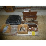 Pallet w/ (2) Farmall emblems, toolbox, misc. parts