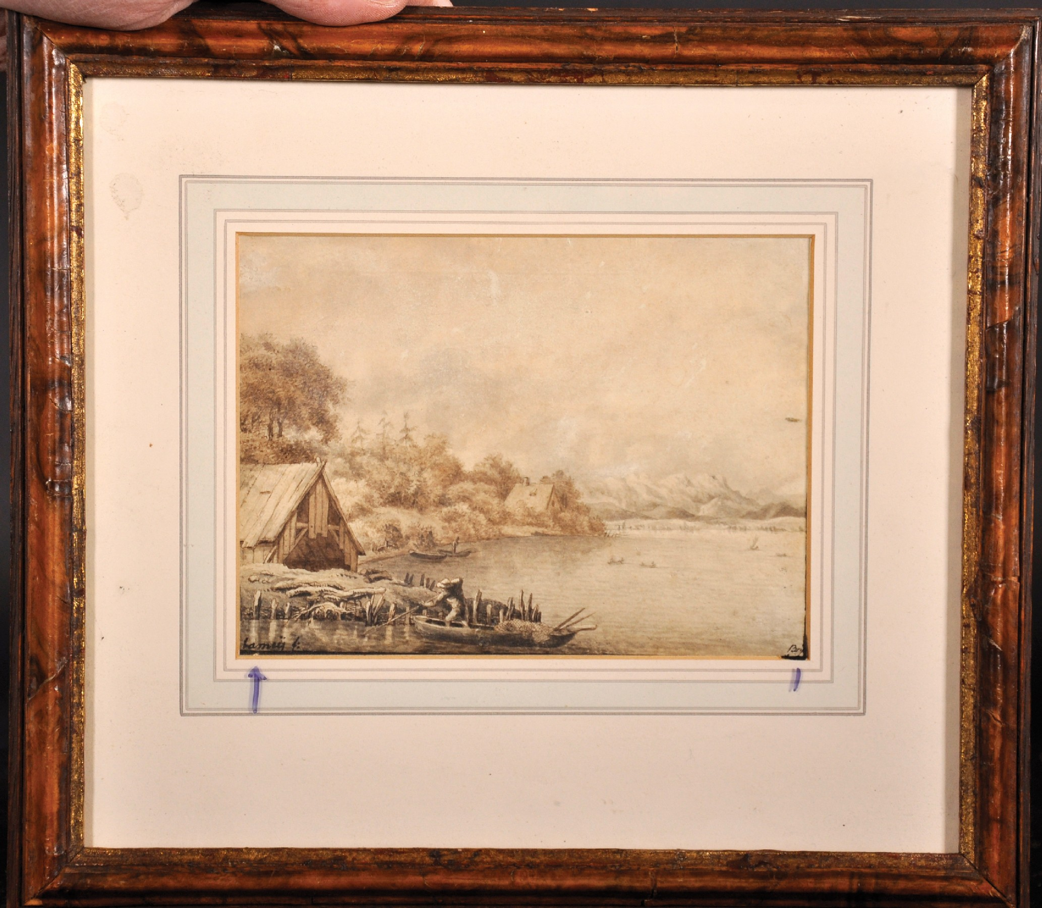 Lamey (Early 19th Century) German. A River Landscape, with a Figure in a Boat, Sepia, Signed and - Image 2 of 6