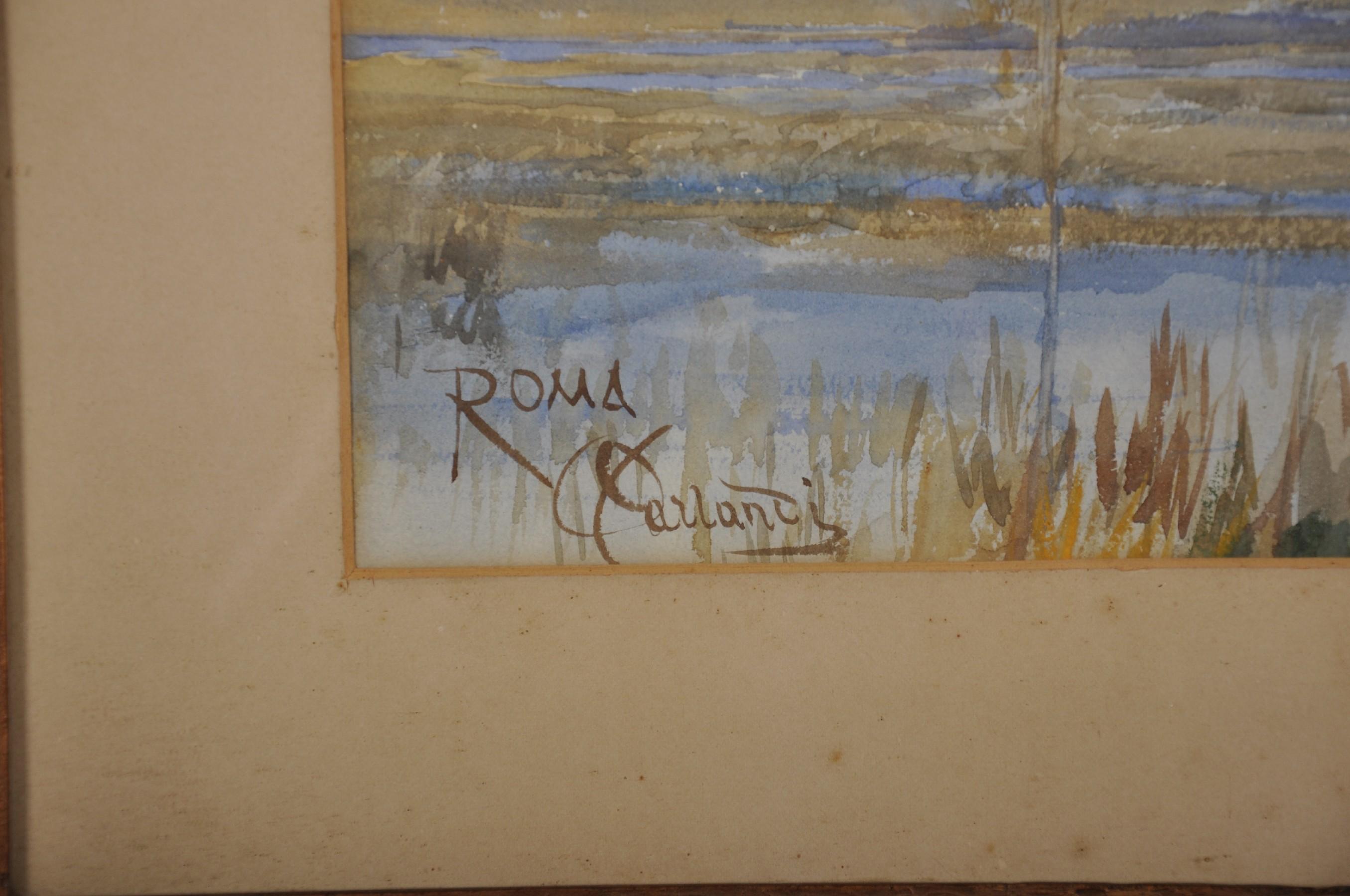 Onorato Carlandi (1848-1939) Italian. A River Landscape, Watercolour, Signed and Inscribed 'Roma', - Image 3 of 4