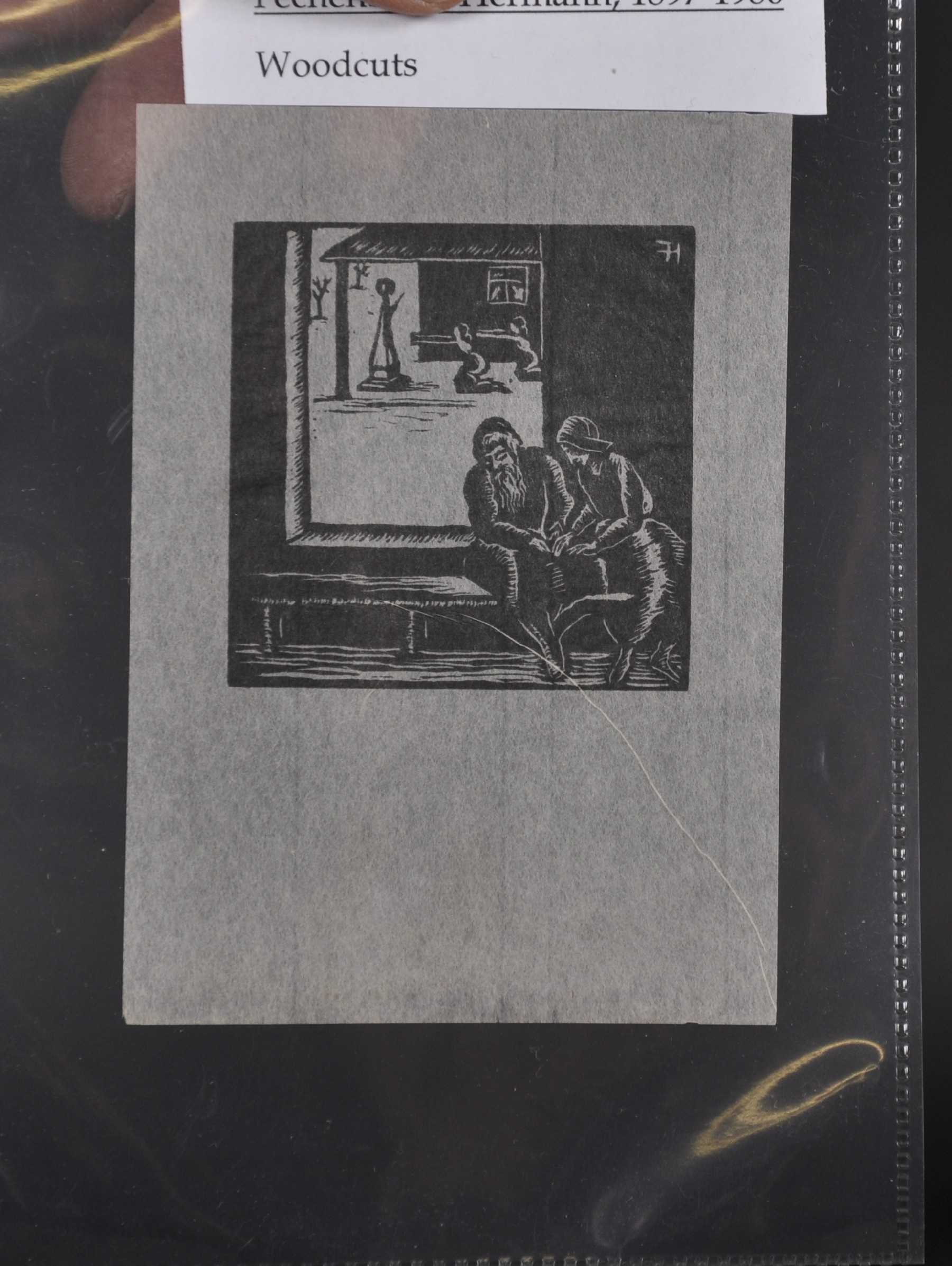 """Hermann Fechenbach (1897-1986) German. A Man and Woman Lying in Bed, Woodcut, Unframed, 2.5"""" x 2.5"""", - Image 5 of 6"""