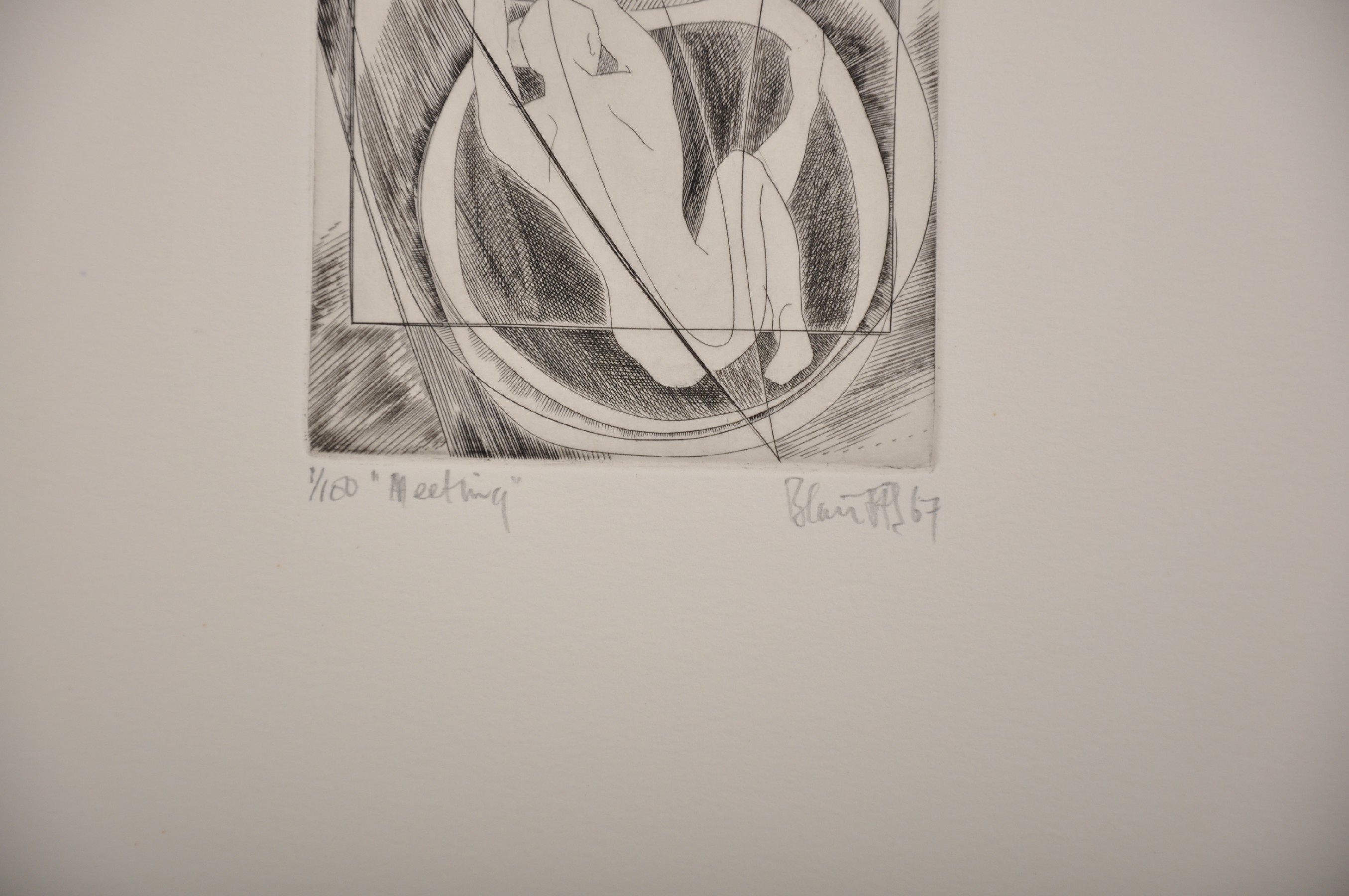 """Blair Hughes-Stanton (1902-1981) British. """"Meeting"""", Etching, Signed, Inscribed, Dated '67 and - Image 3 of 6"""