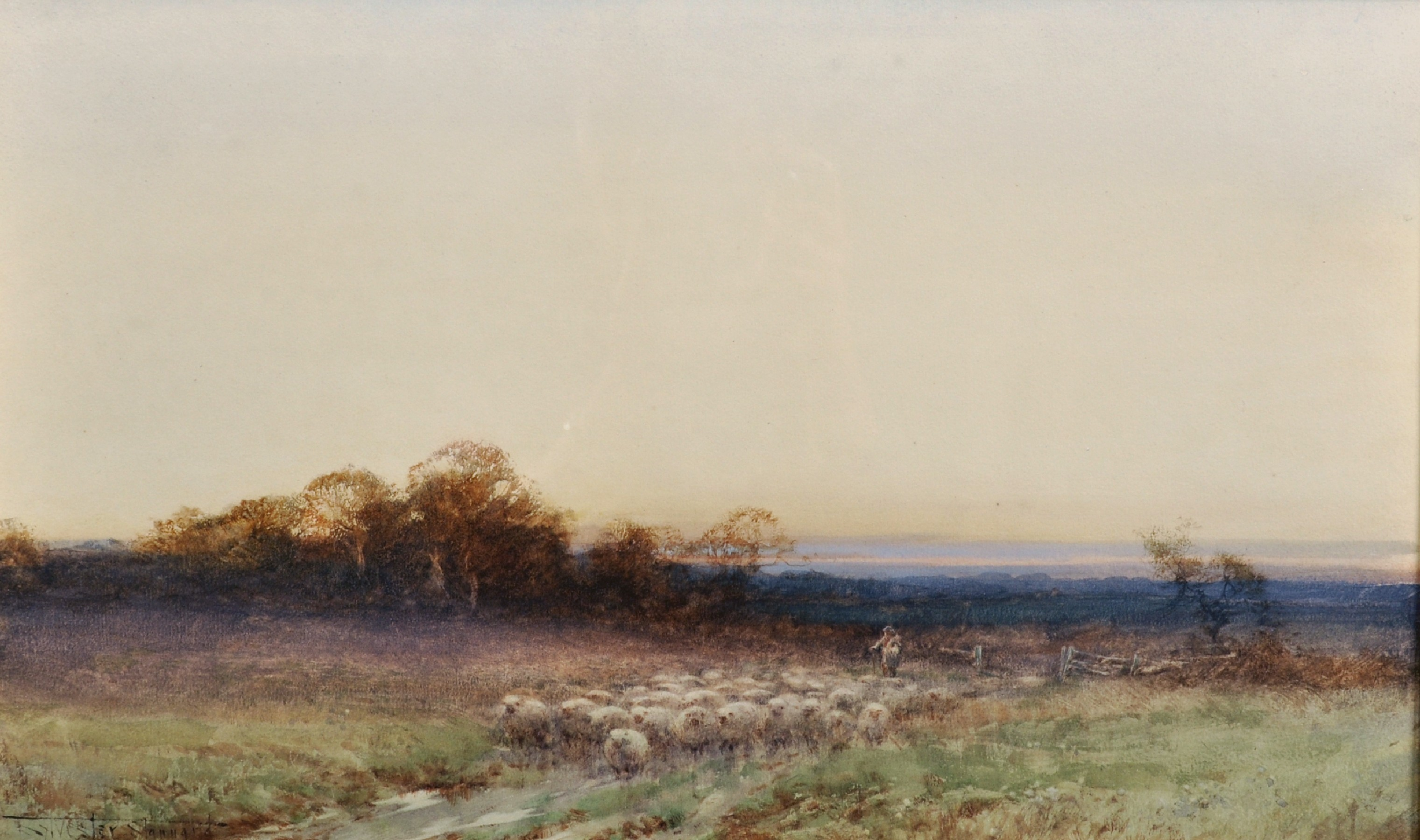 """Henry John Sylvester Stannard (1870-1951) British. """"Home to the Fold at Twilight"""", with a Shepherd"""