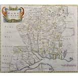 "Robert Morden (c1650-1703) British. ""Hampshire"", Map, Reprint 1720, 15"" x 18""."