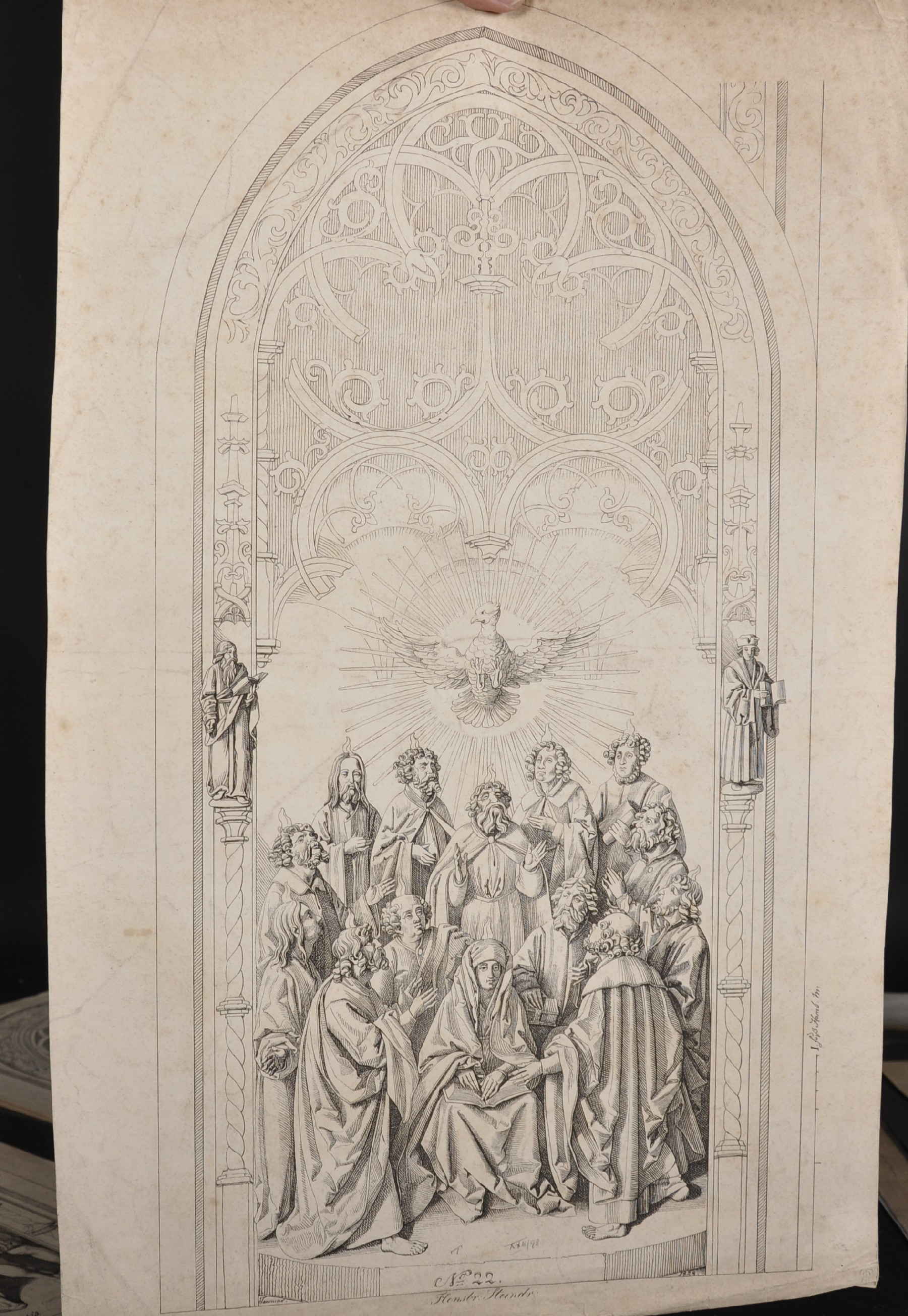 After Conrad Christian A... Boehndel (1779-1847) Danish. Design for an Altarpiece, Engraving, - Image 4 of 4