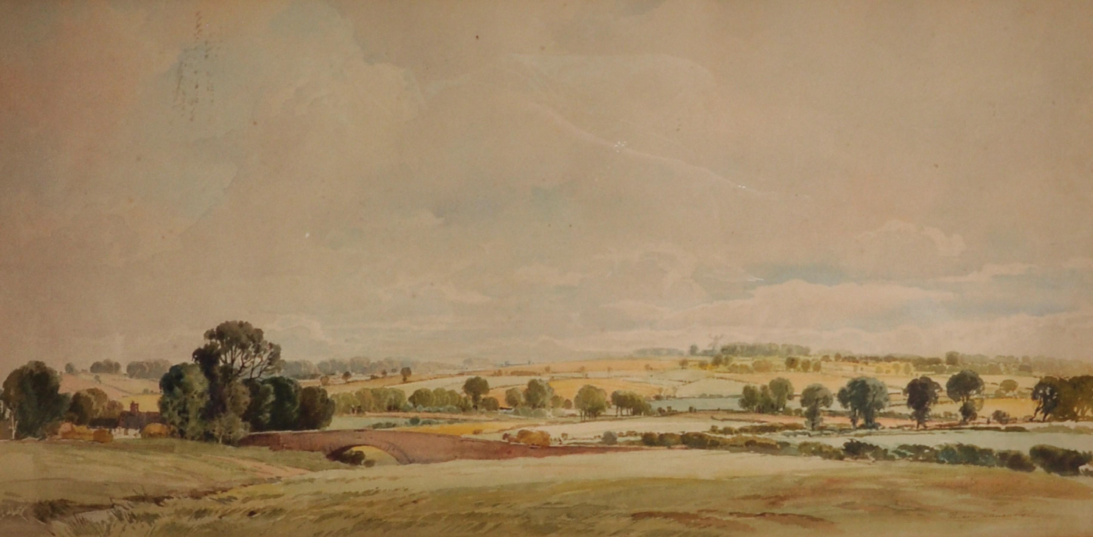 "Percy Lancaster (1878-1951) British. An Extensive Landscape, Watercolour, Signed, 12"" x 25""."