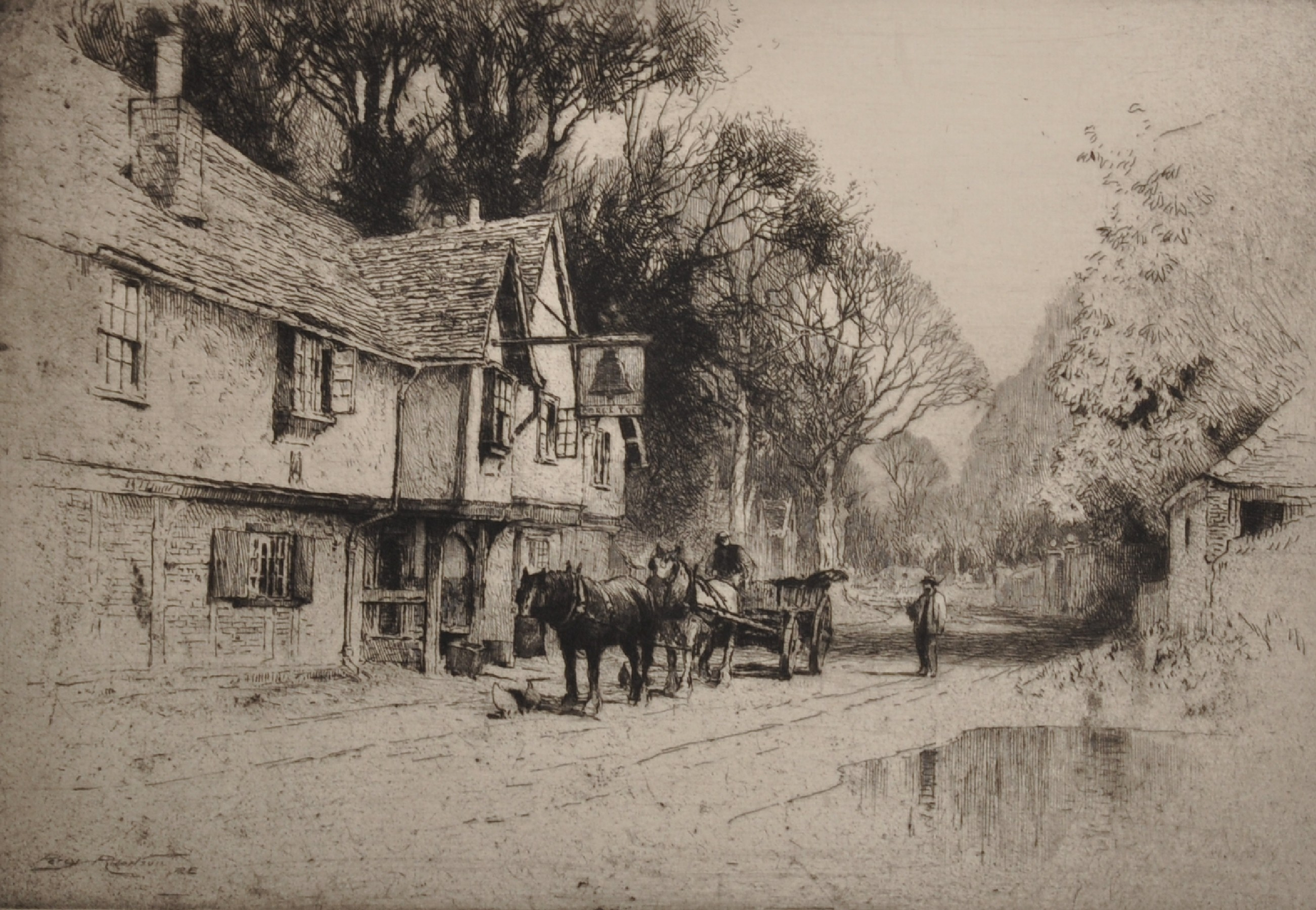 Percy Robinson (20th Century) British. A Village Lane with a Horse and Cart, Etching, Signed in