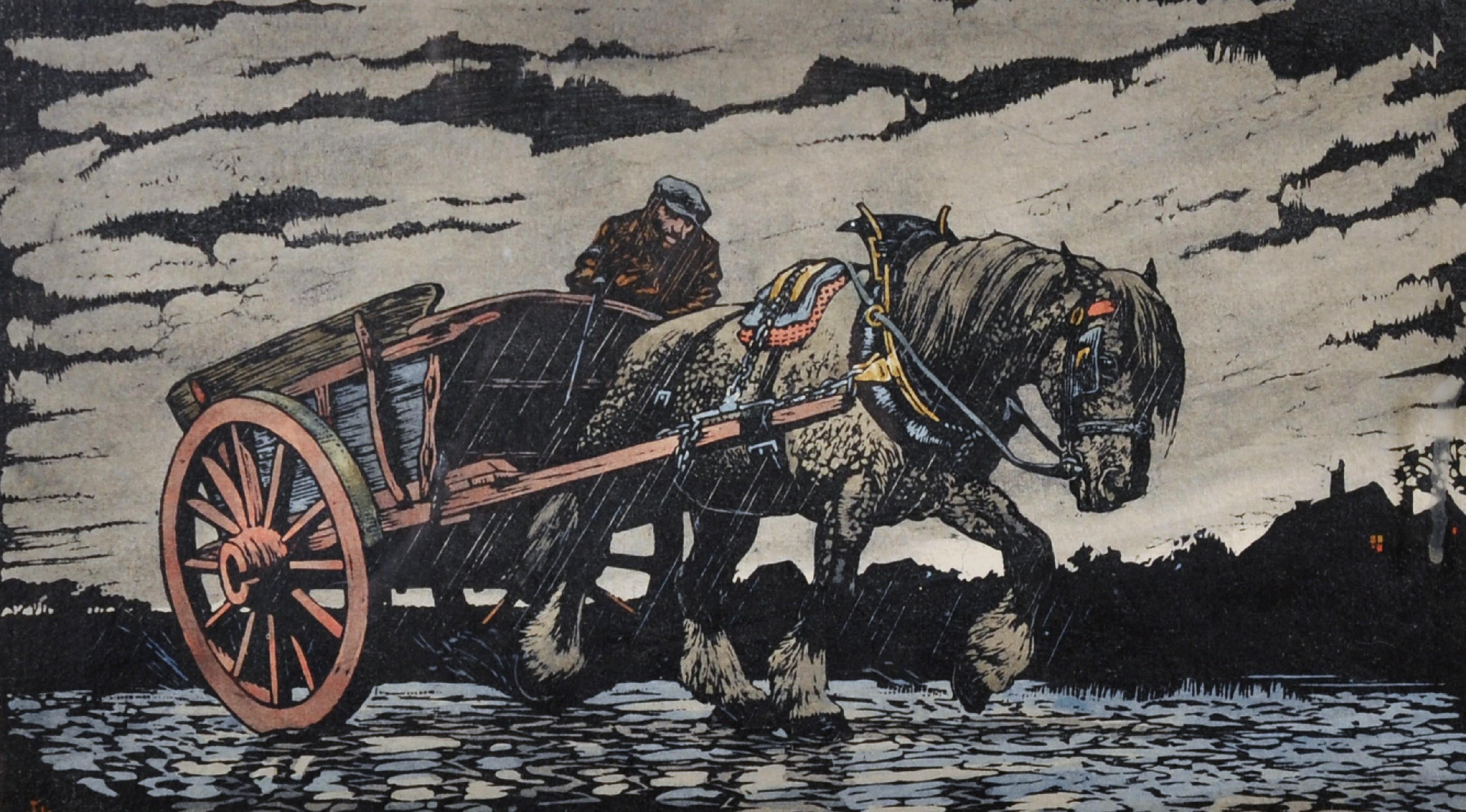 "Lot 43 - Haydn Reynolds Mackey (1883-1979) British. ""To Burnham Market"", a Man in a Horse and Cart,"