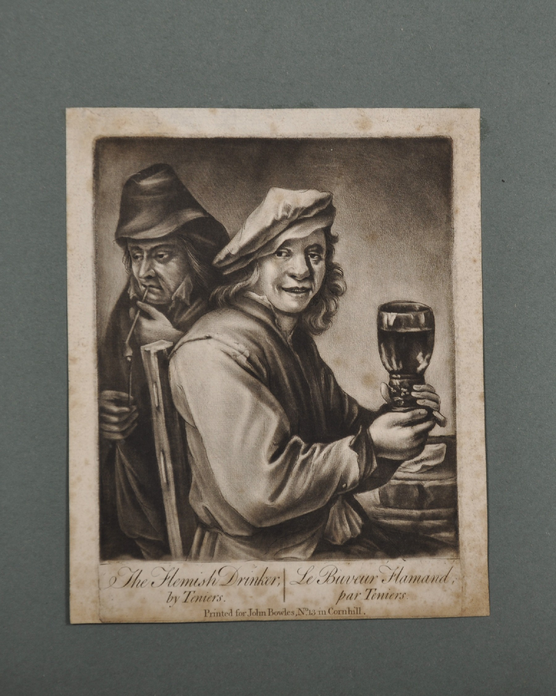 """18th Century English School. """"The Flemish Drinker"""" after David Teniers (1610-1690), Engraving, - Image 2 of 8"""