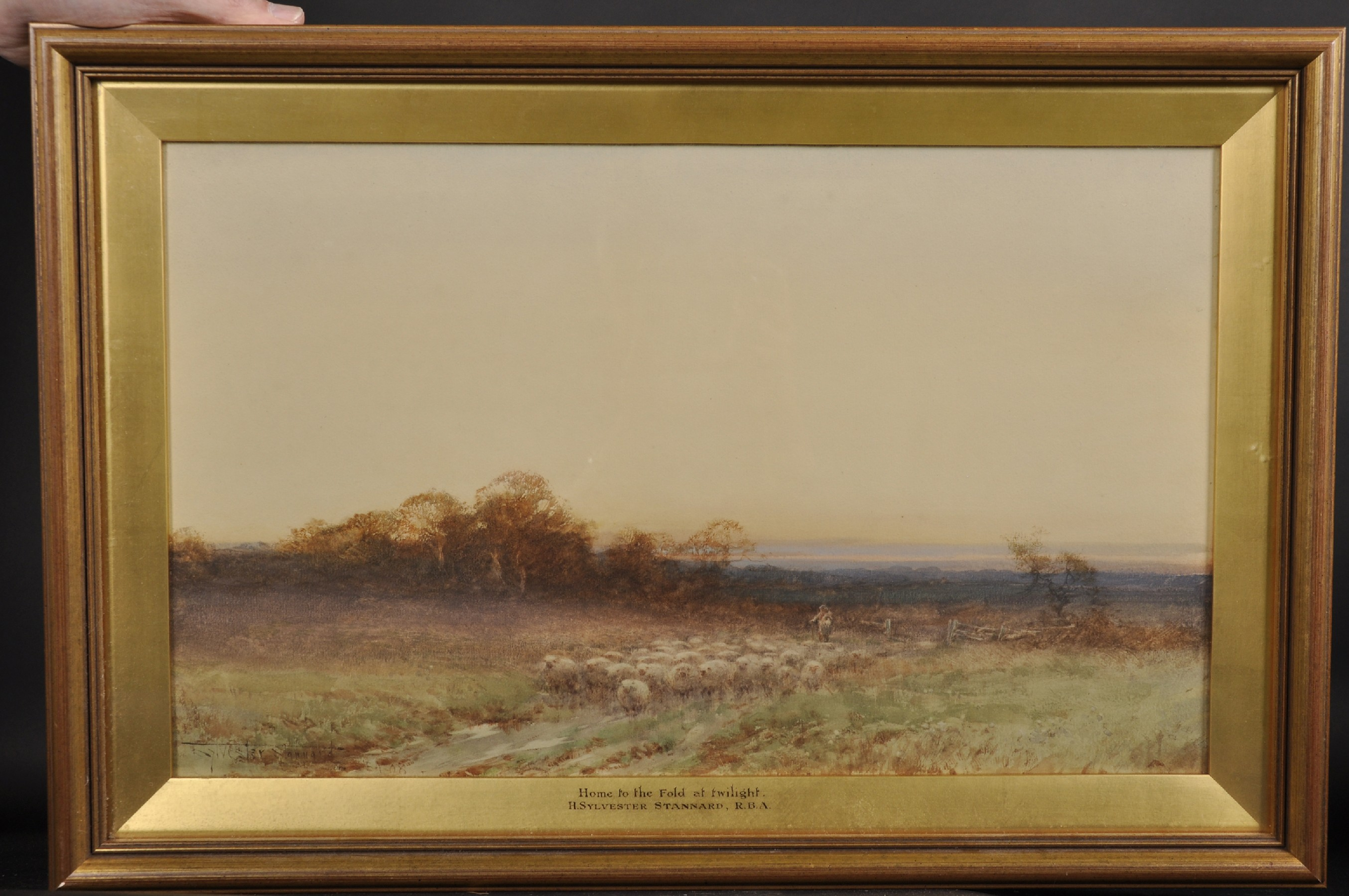 """Henry John Sylvester Stannard (1870-1951) British. """"Home to the Fold at Twilight"""", with a Shepherd - Image 2 of 4"""