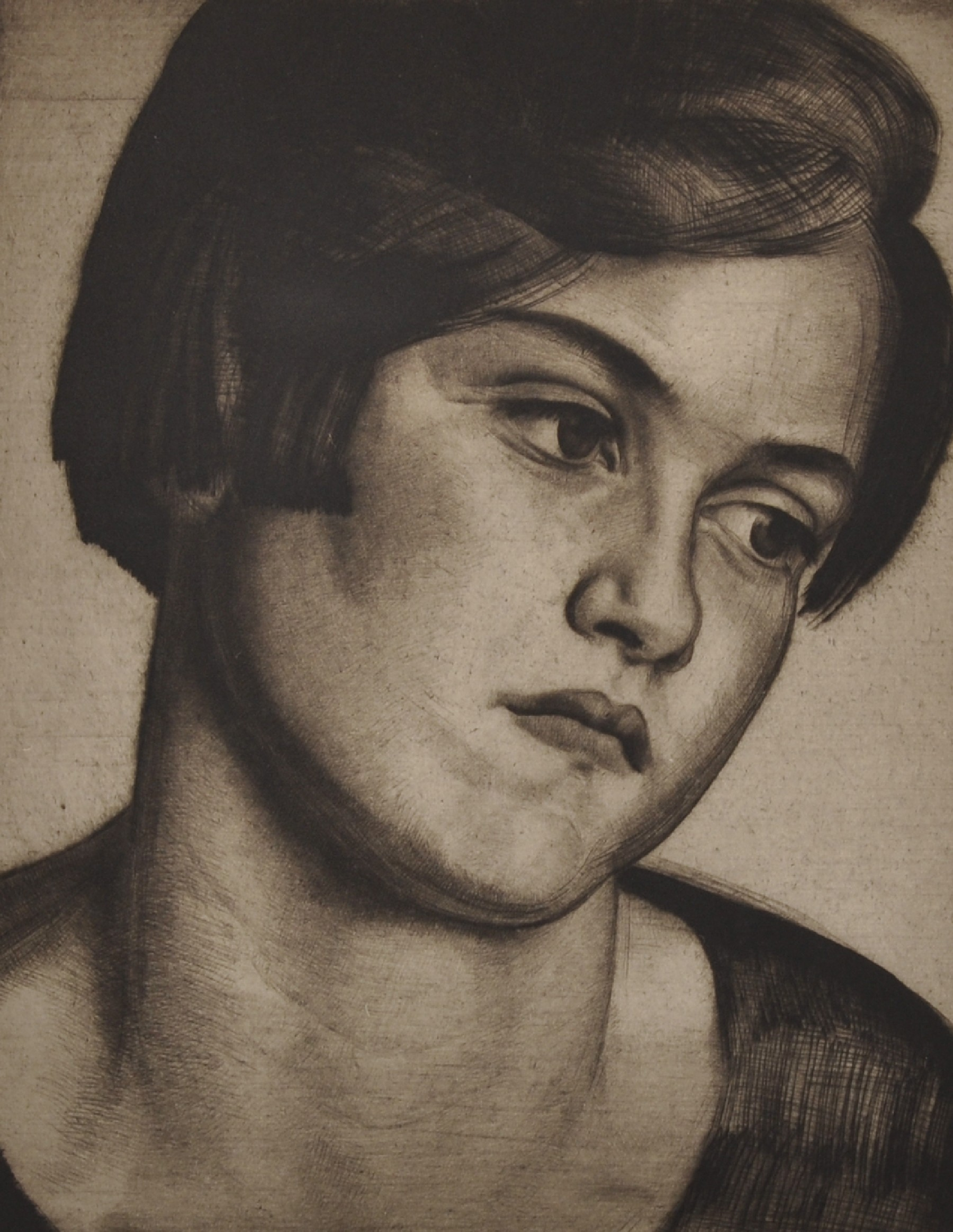 """Laura Knight (1877-1970) British. """"Head of a Young Girl"""", Drypoint Etching, Signed and Inscribed '35"""