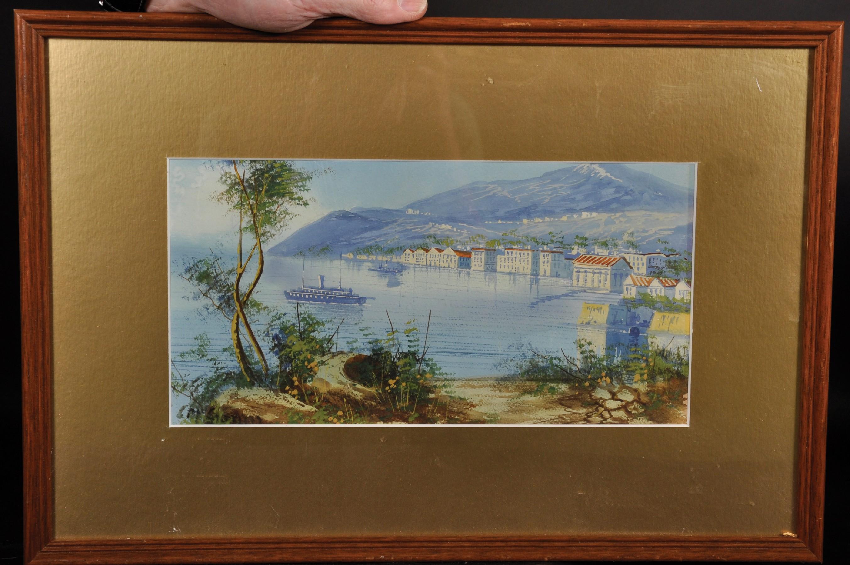 """Maria Gianni (1873-1956) Italian. A Coastal Scene, Watercolour, Signed, 6.25"""" x 12.25"""". - Image 2 of 4"""