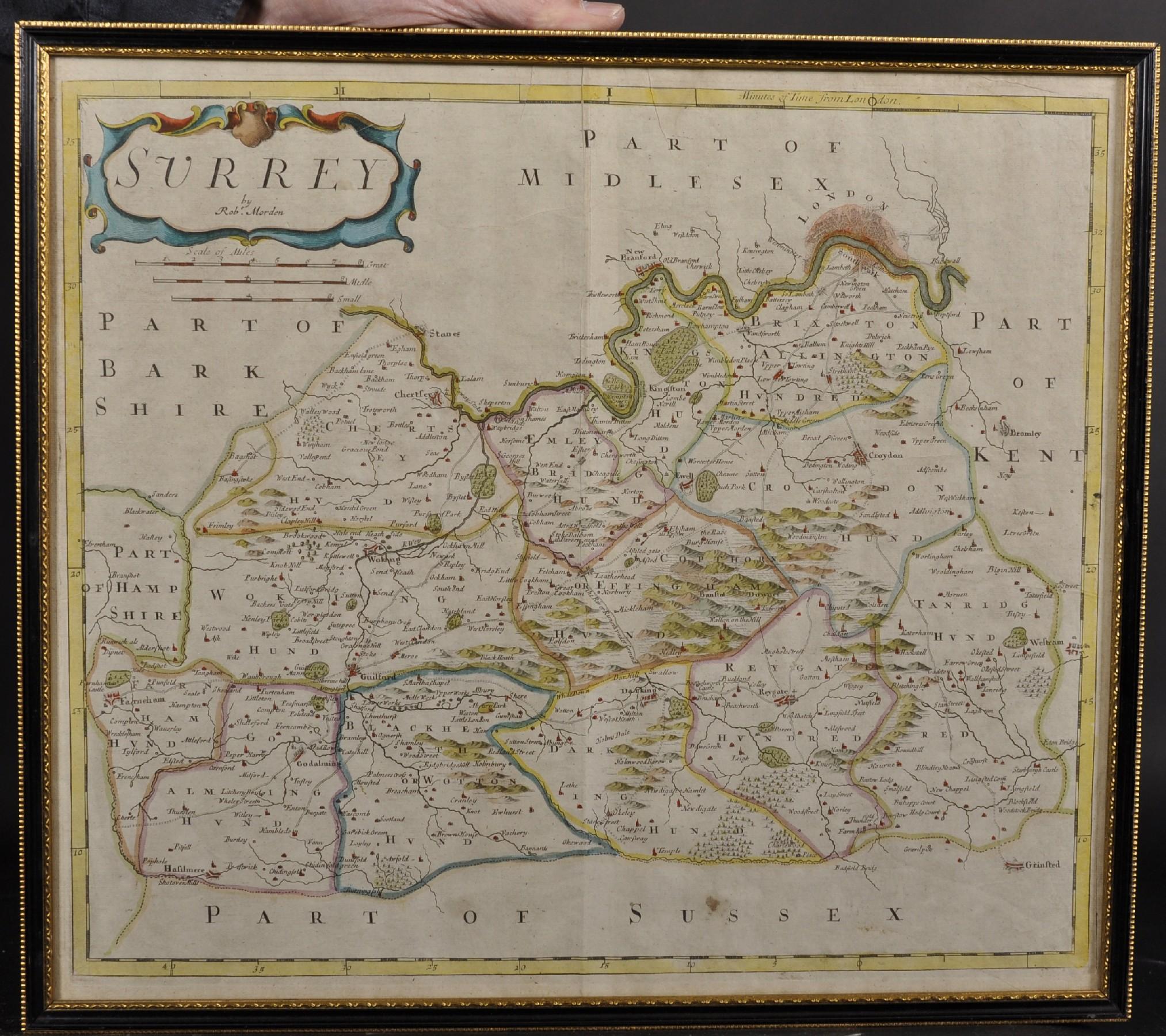 """Robert Morden (c1650-1703) British. """"Surrey"""", Map, 15"""" x 18"""". - Image 2 of 4"""