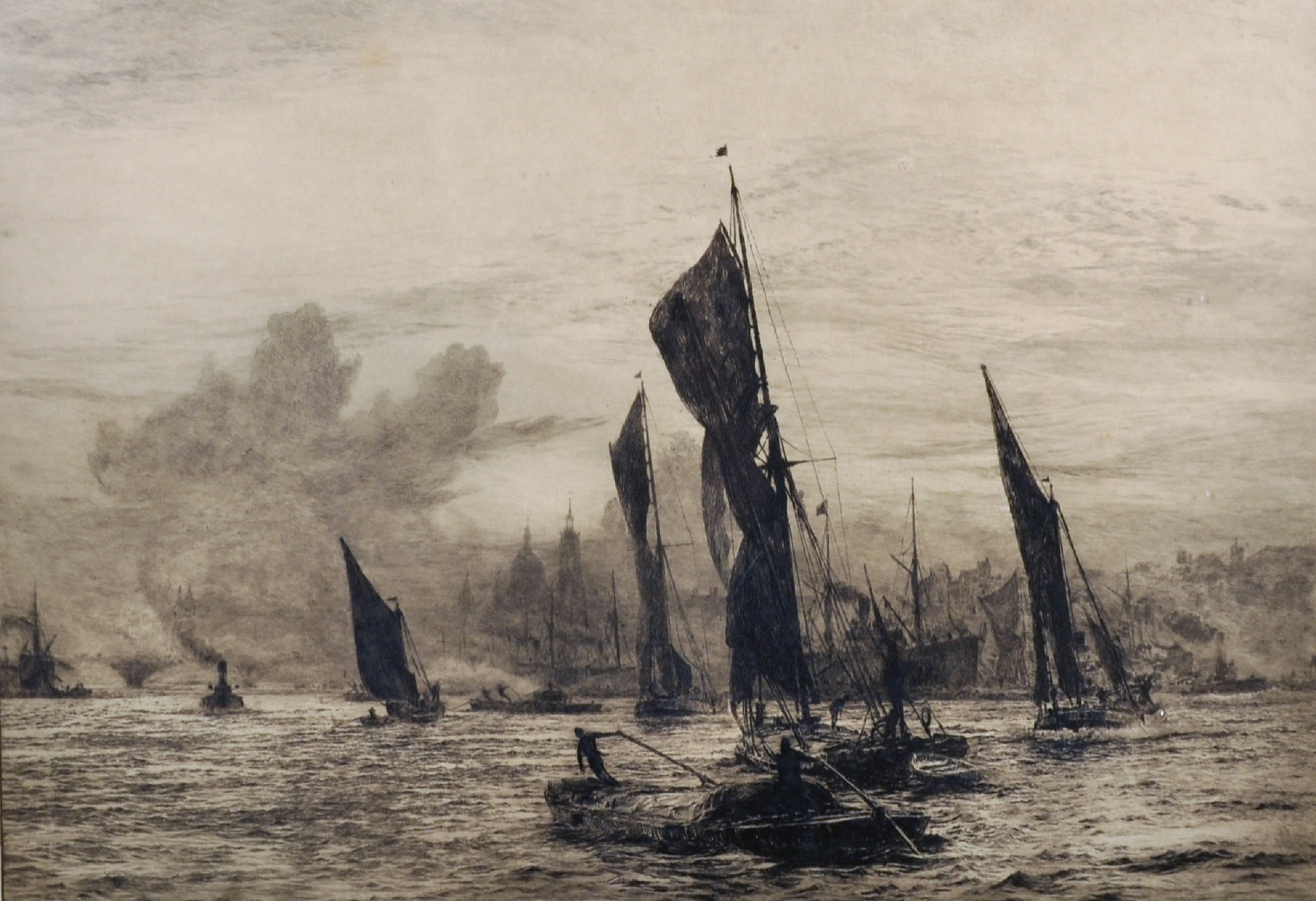 """William Lionel Wyllie (1851-1931) British. """"Barges on the Thames, London Bridge and St Paul's"""