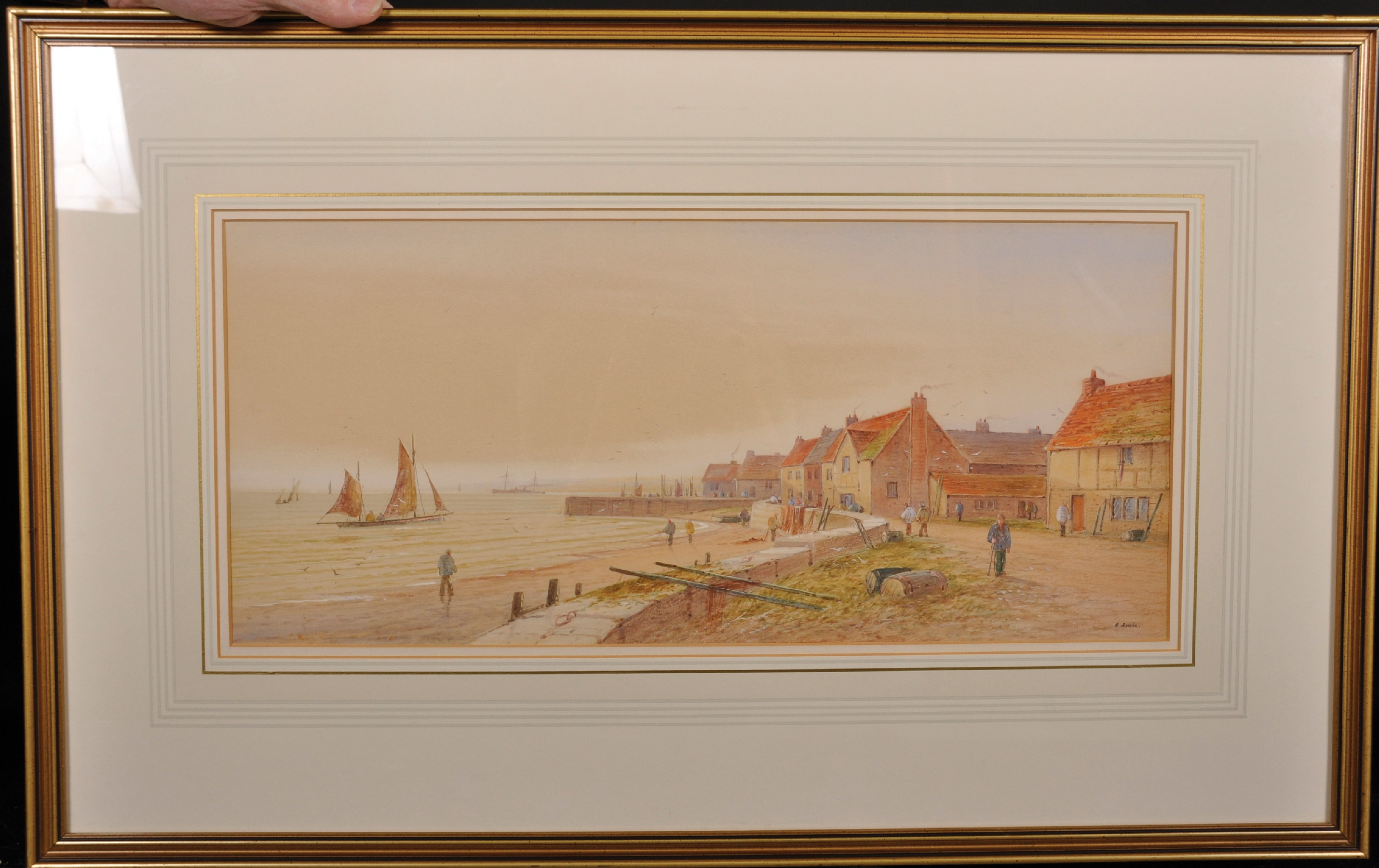 E... Lewis (19th - 20th Century) British. A Coastal Scene with Shipping, and Figures by Houses, - Image 3 of 7