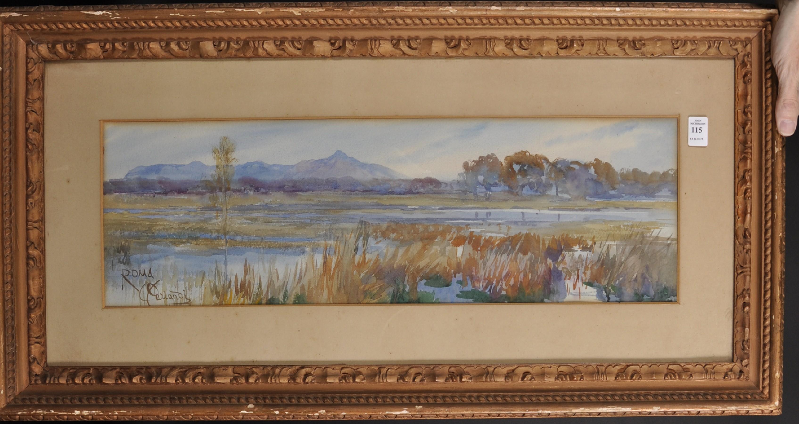 Onorato Carlandi (1848-1939) Italian. A River Landscape, Watercolour, Signed and Inscribed 'Roma', - Image 2 of 4