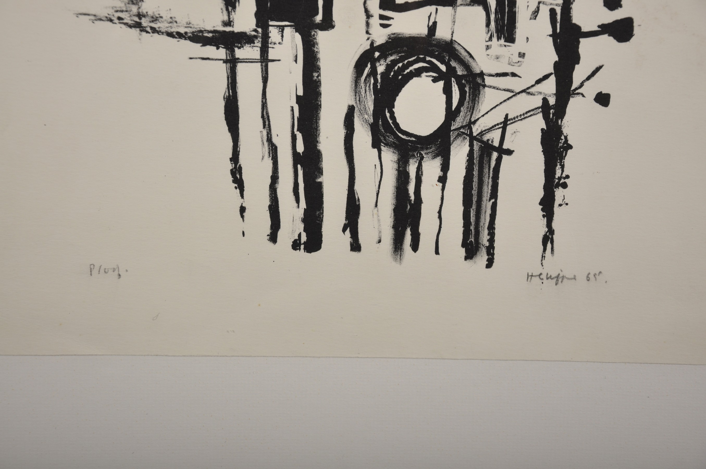 Henry Cliffe (1919-1983) British. 'Black Circles', Lithograph, Signed, Inscribed 'Proof' and - Image 3 of 4