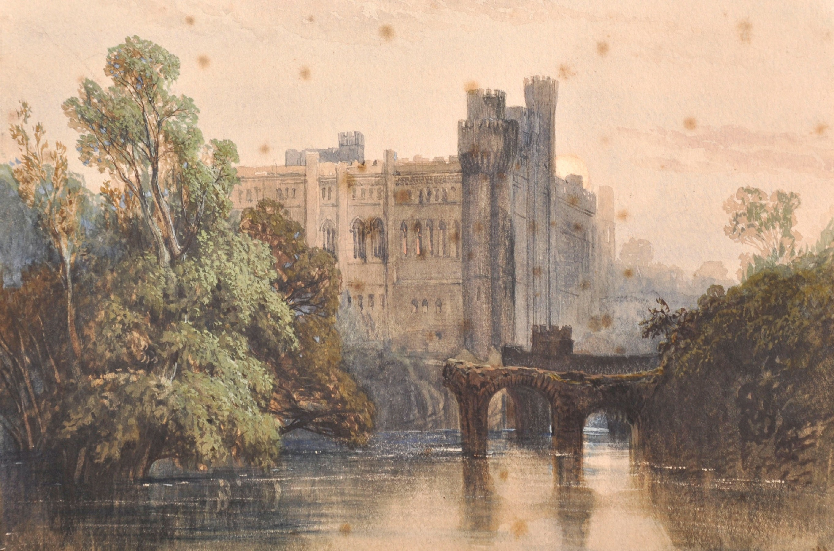 "Circle of George Clarkson Stanfield (1828-1878) British. ""Warwick Castle"", Watercolour, Inscribed on"