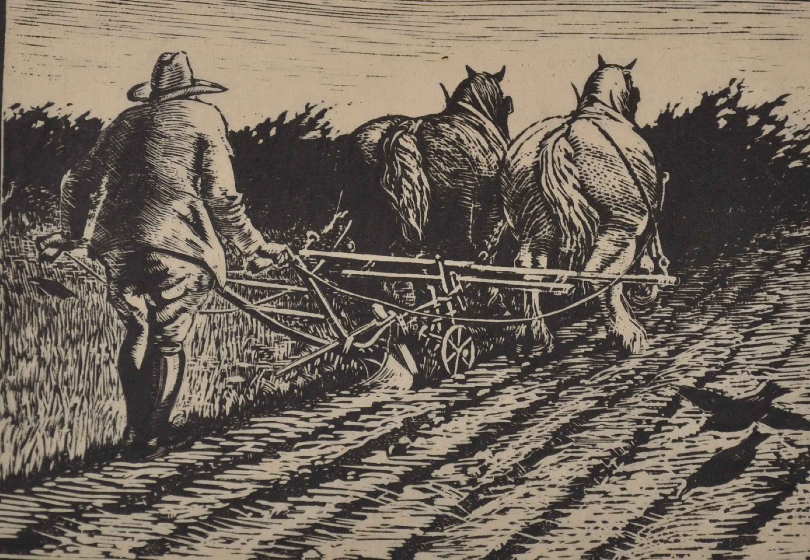 Henry Clarence Whaite (1828-1912) British. A Plough Team, Woodblock, Signed and Numbered '3' in