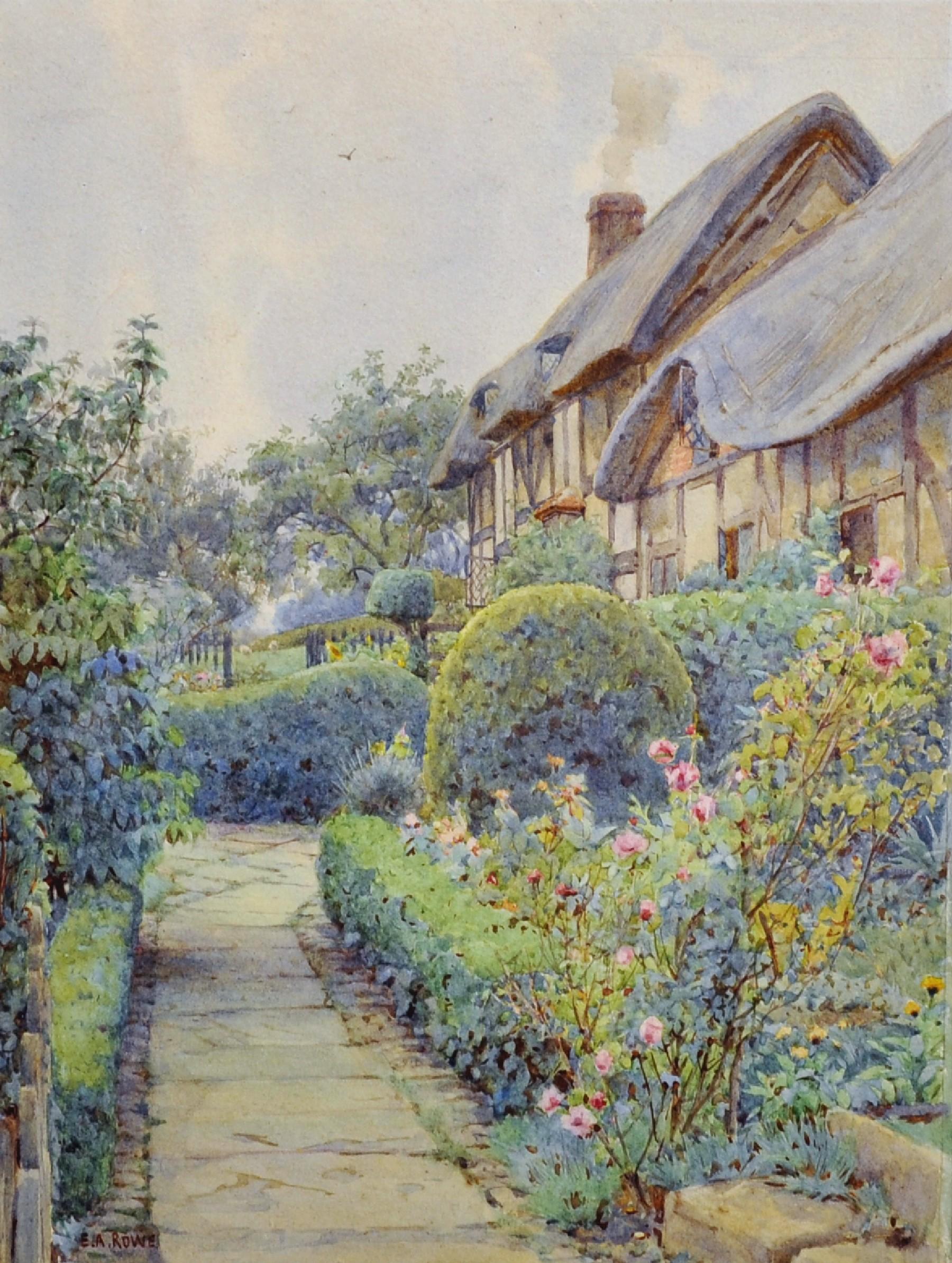 "Ernest Arthur Rowe (1863-1922) British. ""The Entrance, Anne Hathaway's Cottage"", Watercolour,"
