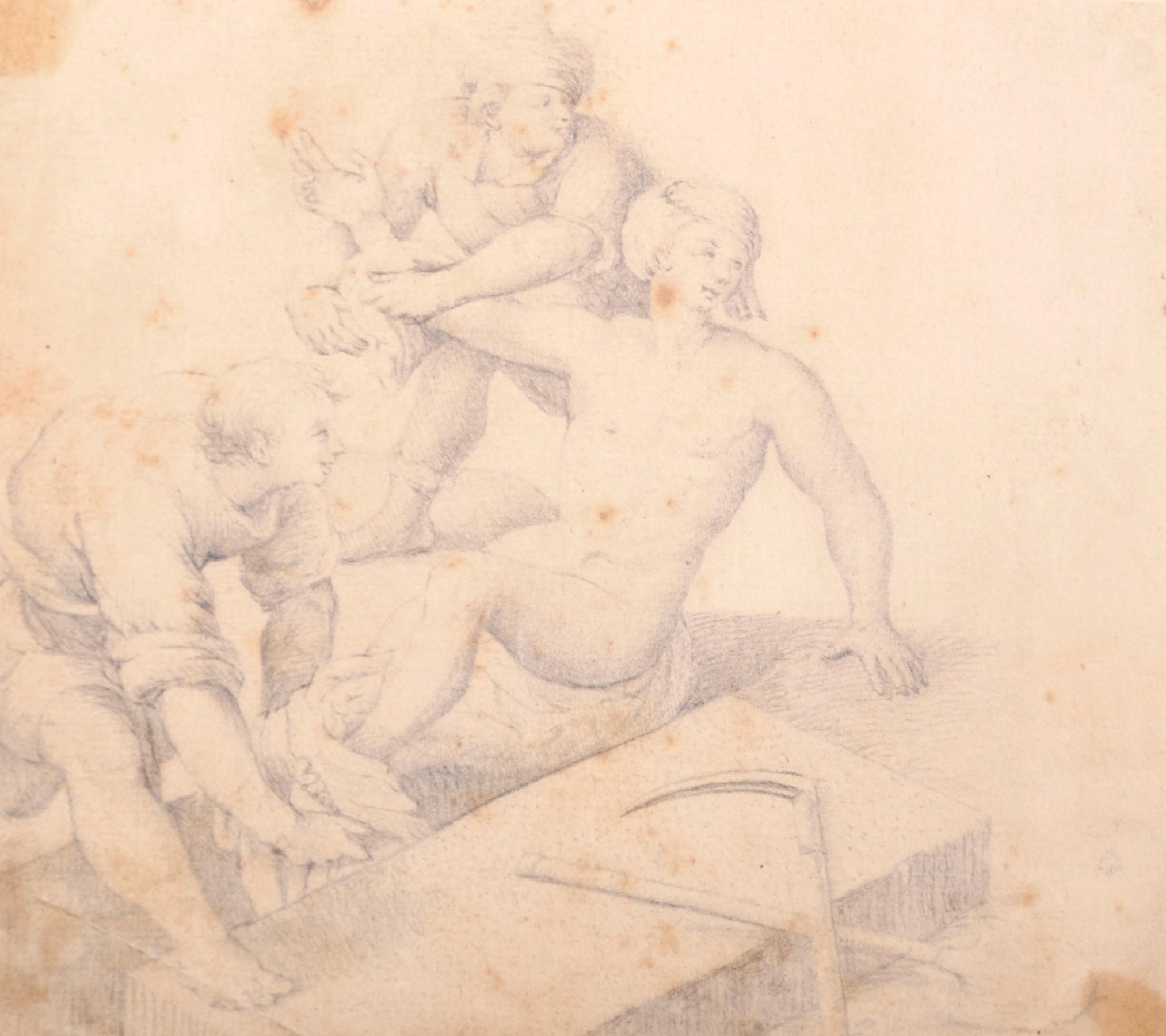 "18th Century European School. the Raising of Lazurus, Pencil, Unframed, 6"" x"
