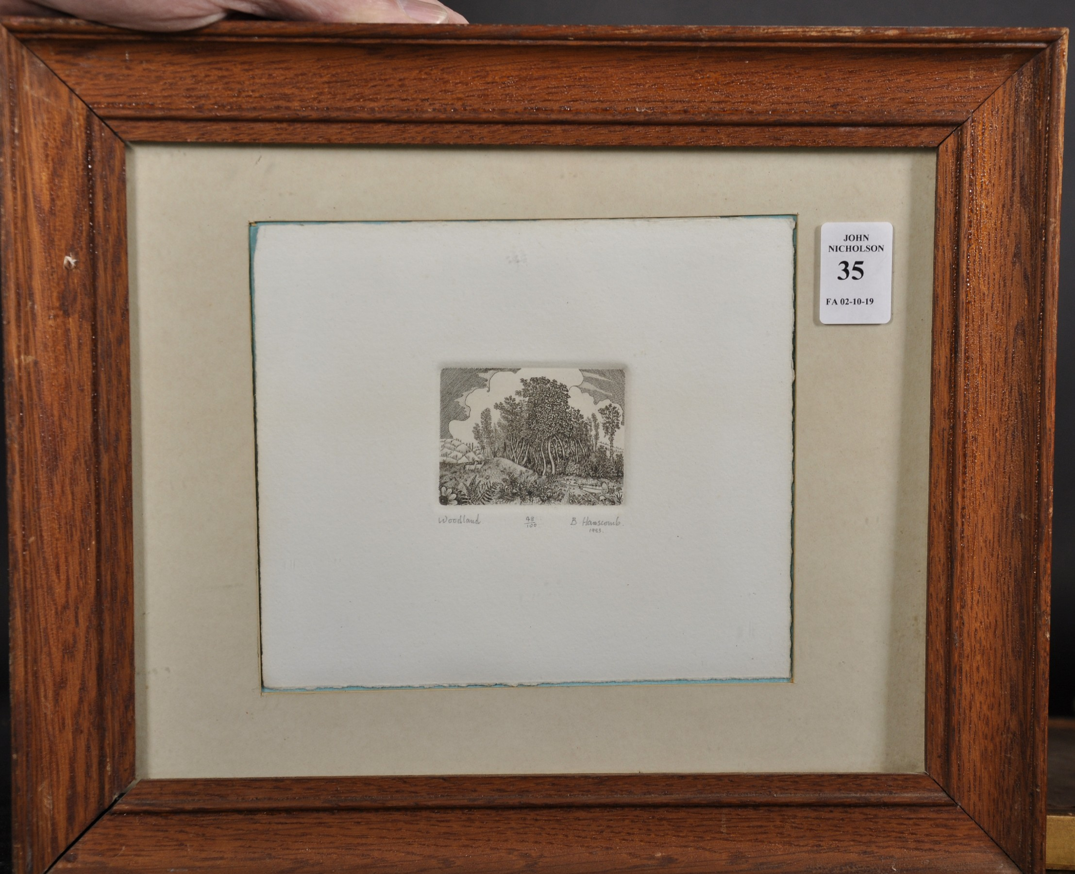 "B... Hanscomb (20th Century) British. ""Woodland"", Etching, Signed, Inscribed, Numbered 48/100, and - Image 2 of 4"