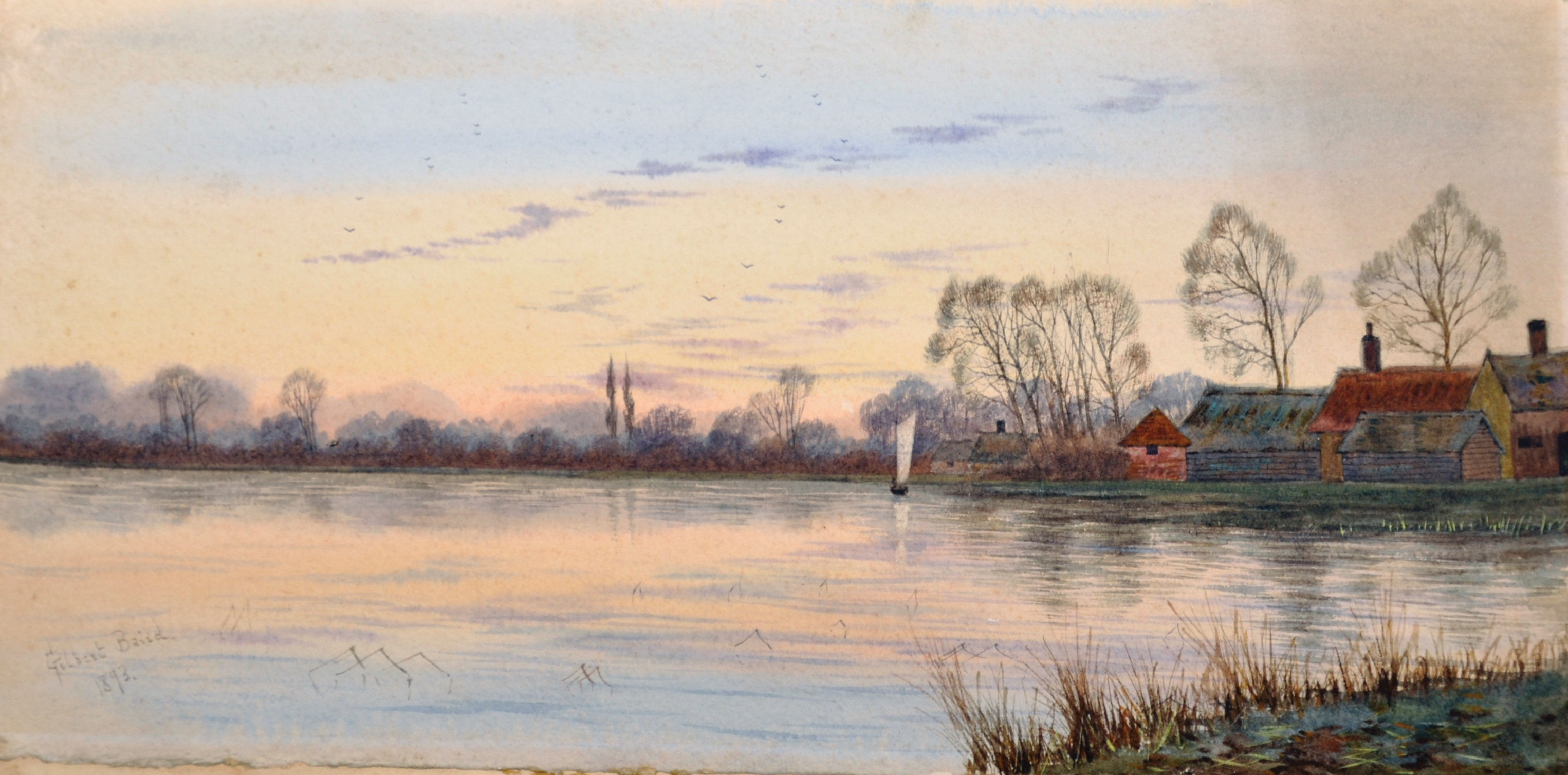 Gilbert Baird Fraser (1866-1947) British. A River Landscape, with a Sailing Boat, and Cottages in