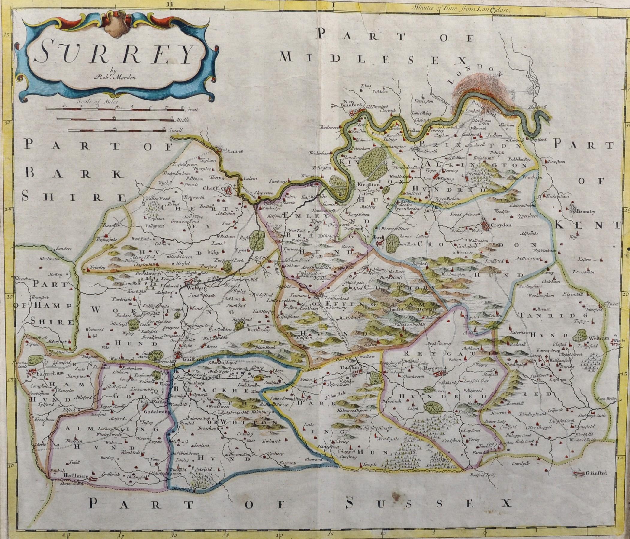 """Robert Morden (c1650-1703) British. """"Surrey"""", Map, 15"""" x 18""""."""