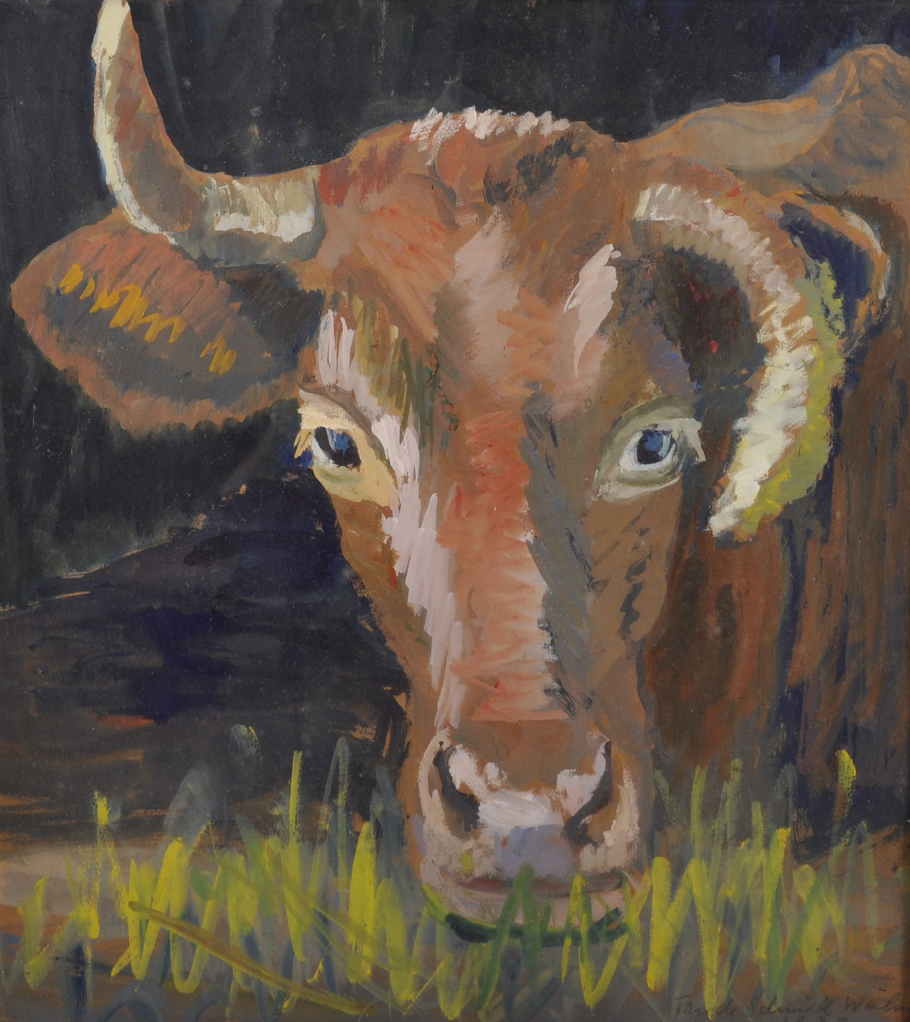 """Trude Schmidl-Waehner (1900-1979) Austrian. """"Kuh"""" (Cow), Watercolour, Signed and Dated 1933 in"""