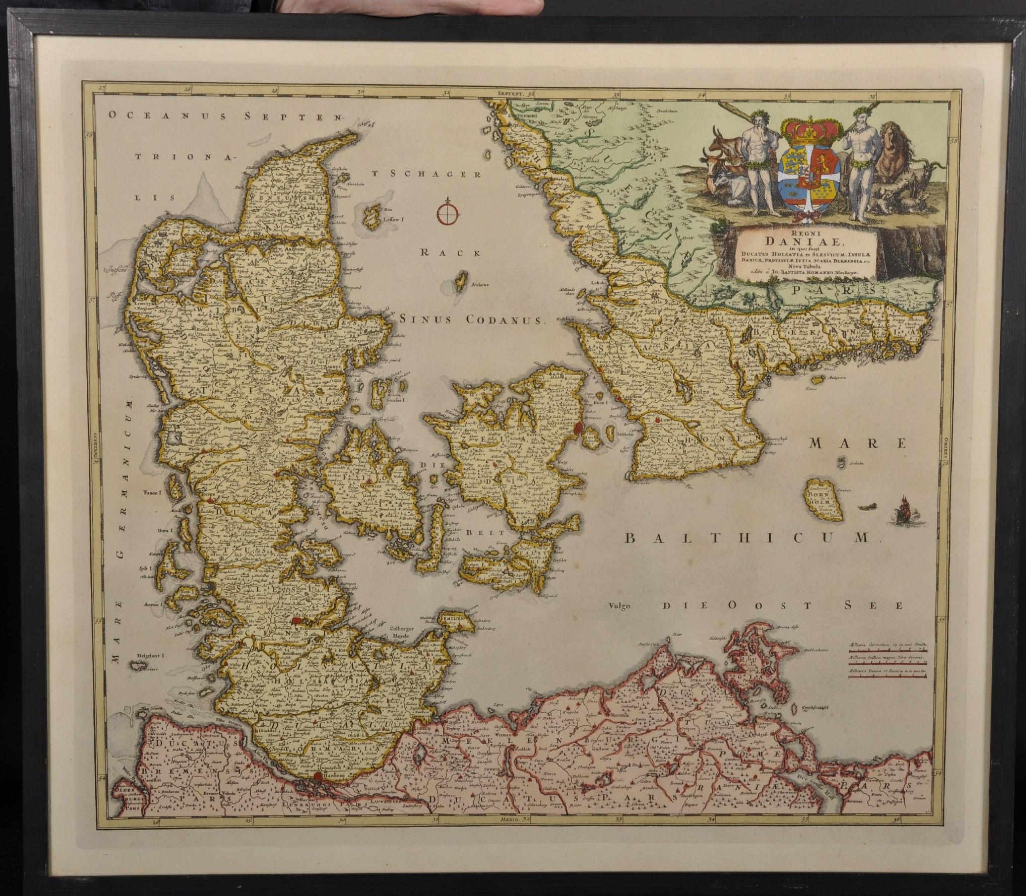 "Lot 6 - After Johann Baptista Homann (1664-1724) German. ""Regni Daniae"", Print, 17.5"" x 20.25""."