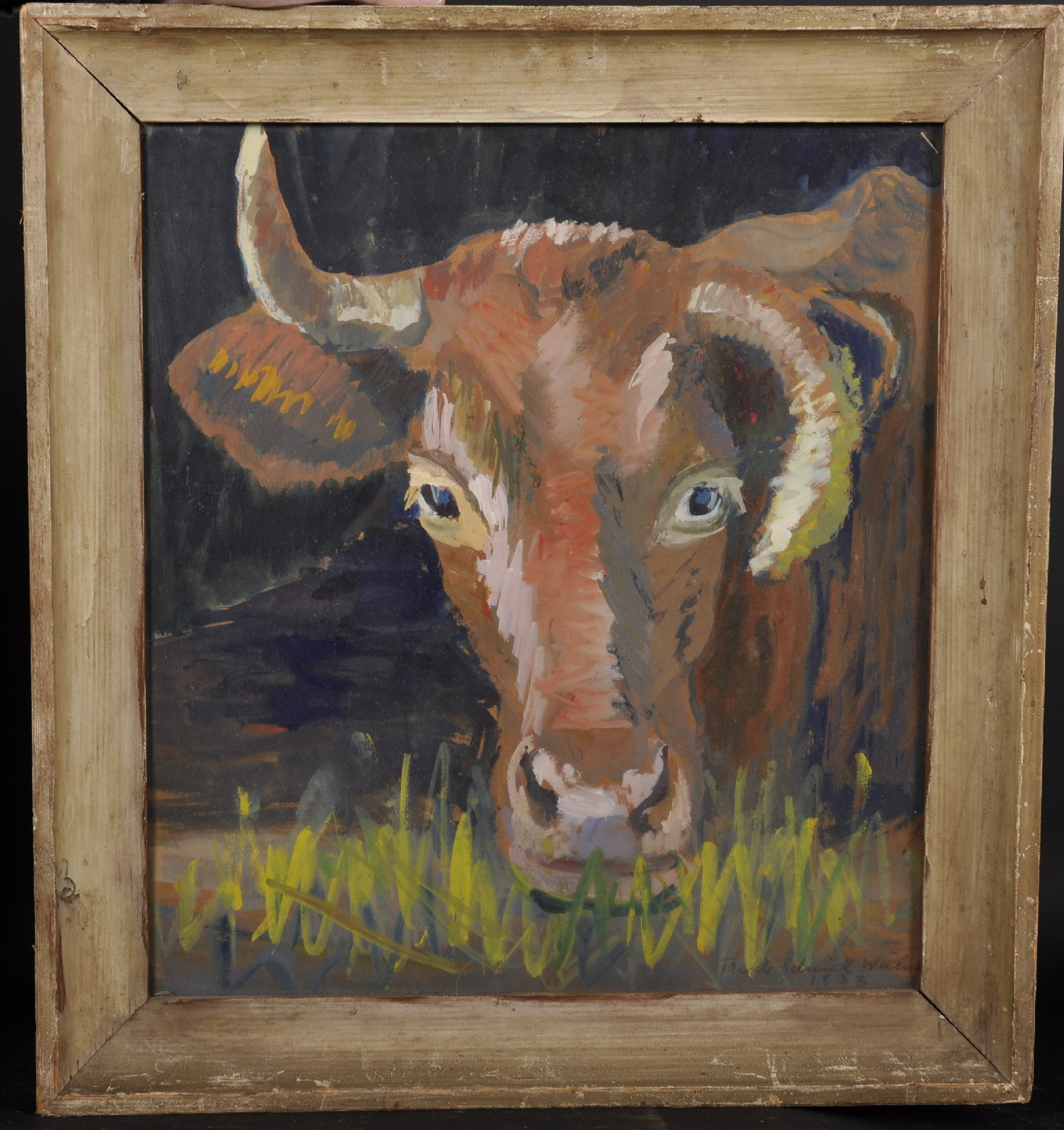 """Trude Schmidl-Waehner (1900-1979) Austrian. """"Kuh"""" (Cow), Watercolour, Signed and Dated 1933 in - Image 2 of 5"""