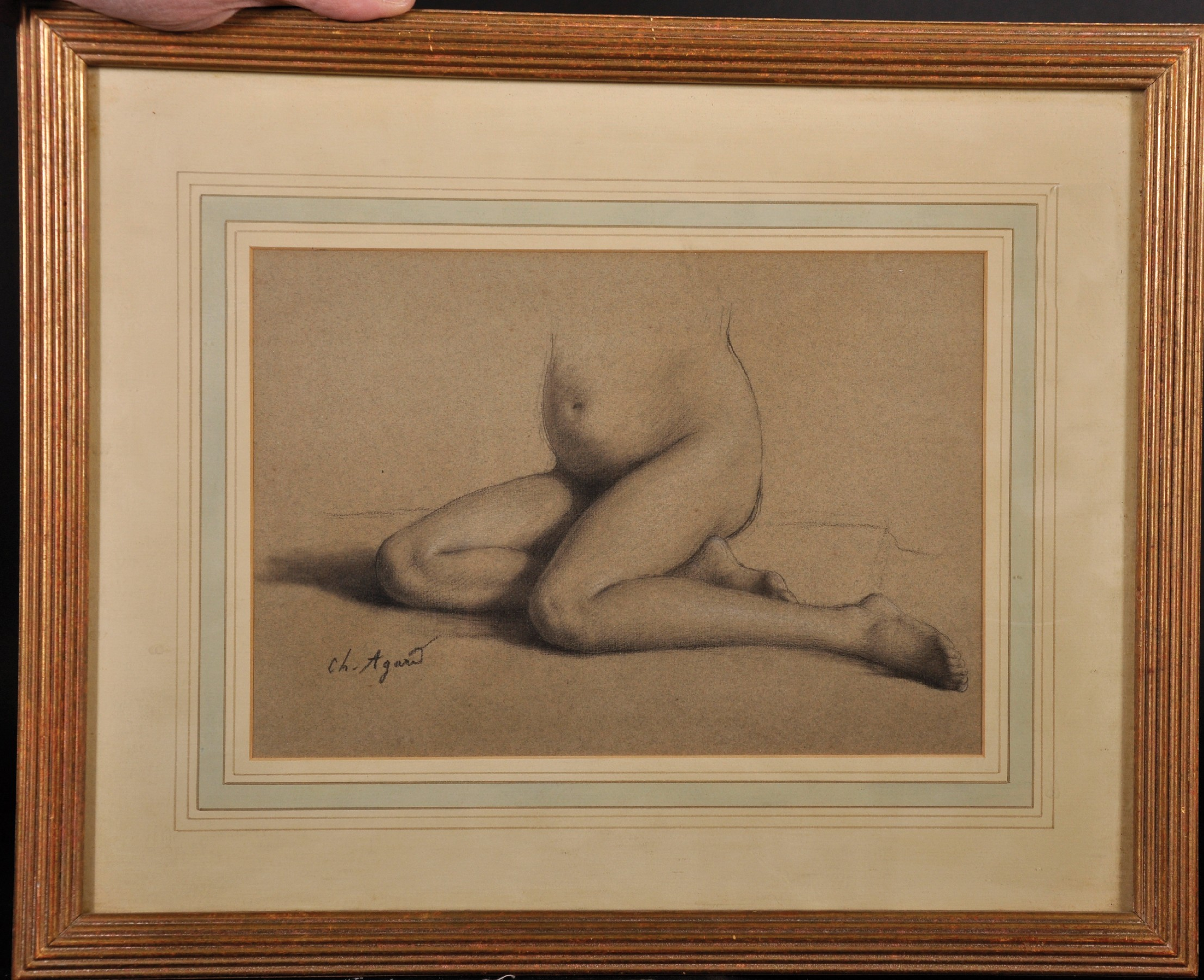 """Charles Jean Agard (1866-1950) French. Study of a Lower Half of a Nude Female, Pencil, Signed, 7.75"""" - Image 2 of 4"""