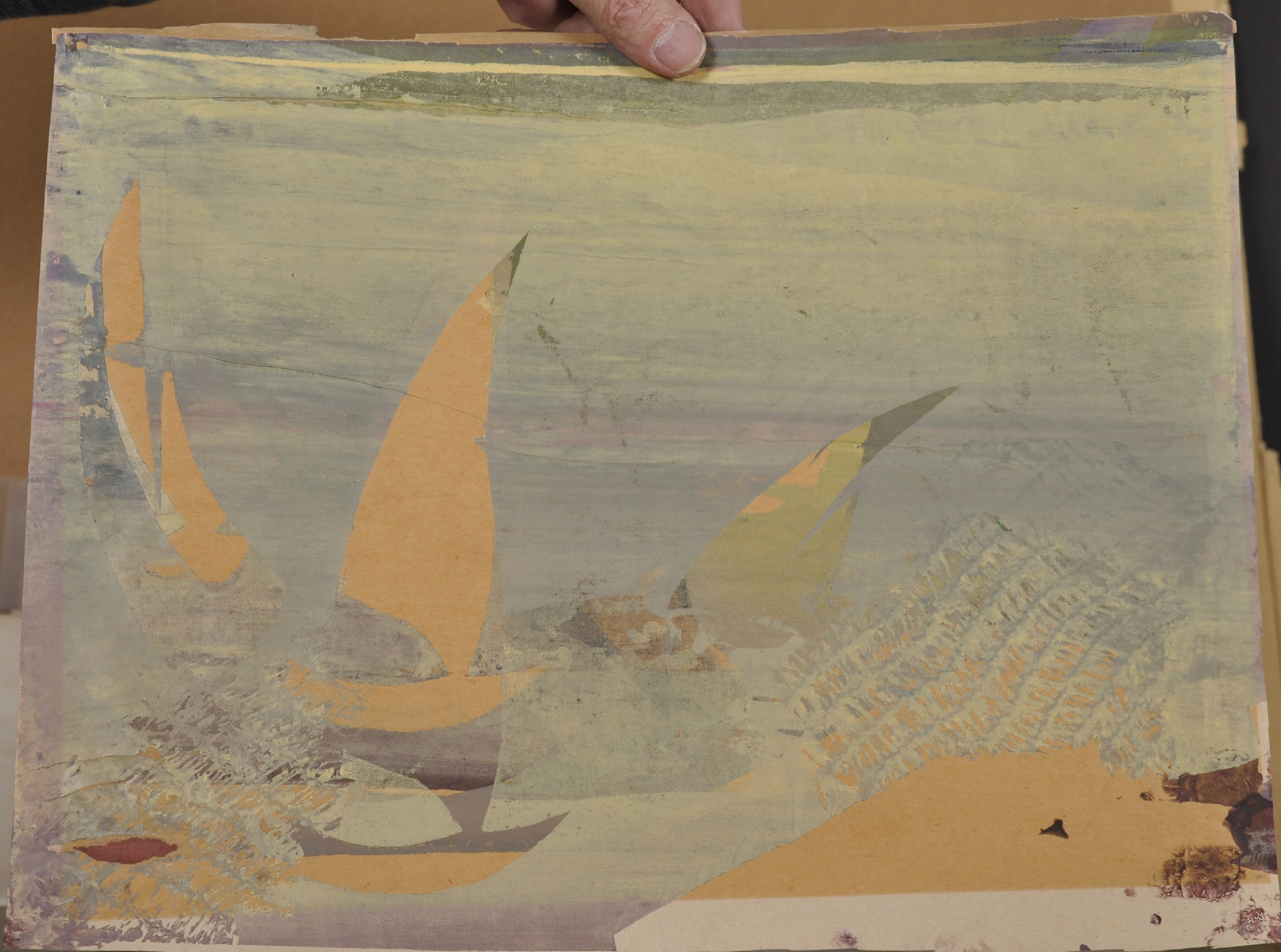 """Early 20th Century European School. Sailing Boats, Woodblock, Unframed, 12"""" x 16.75"""", and another by - Image 3 of 3"""