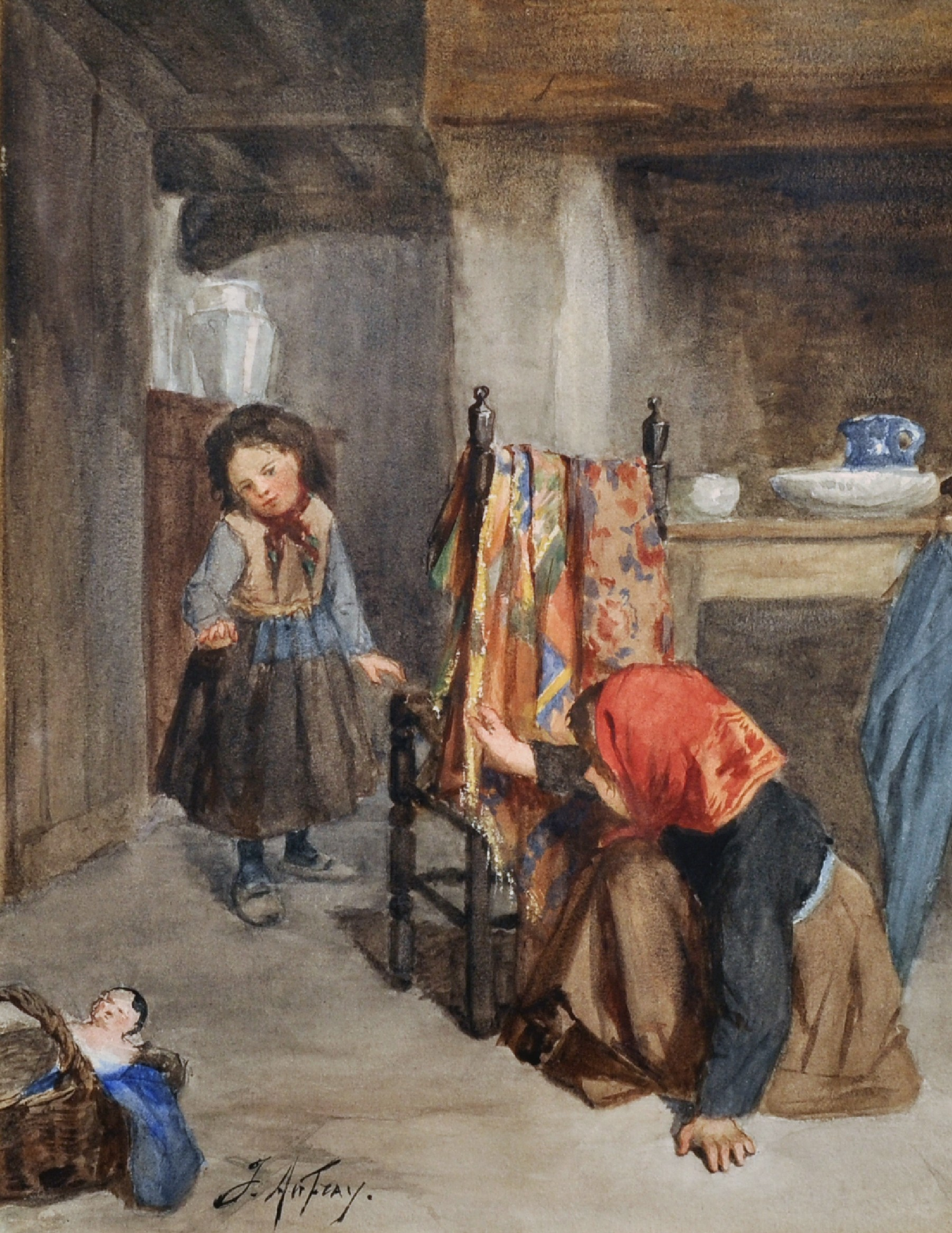 Joseph Athanase Aufray (1836-c.1885) French. Two Children Playing Hide and Seek, Watercolour,