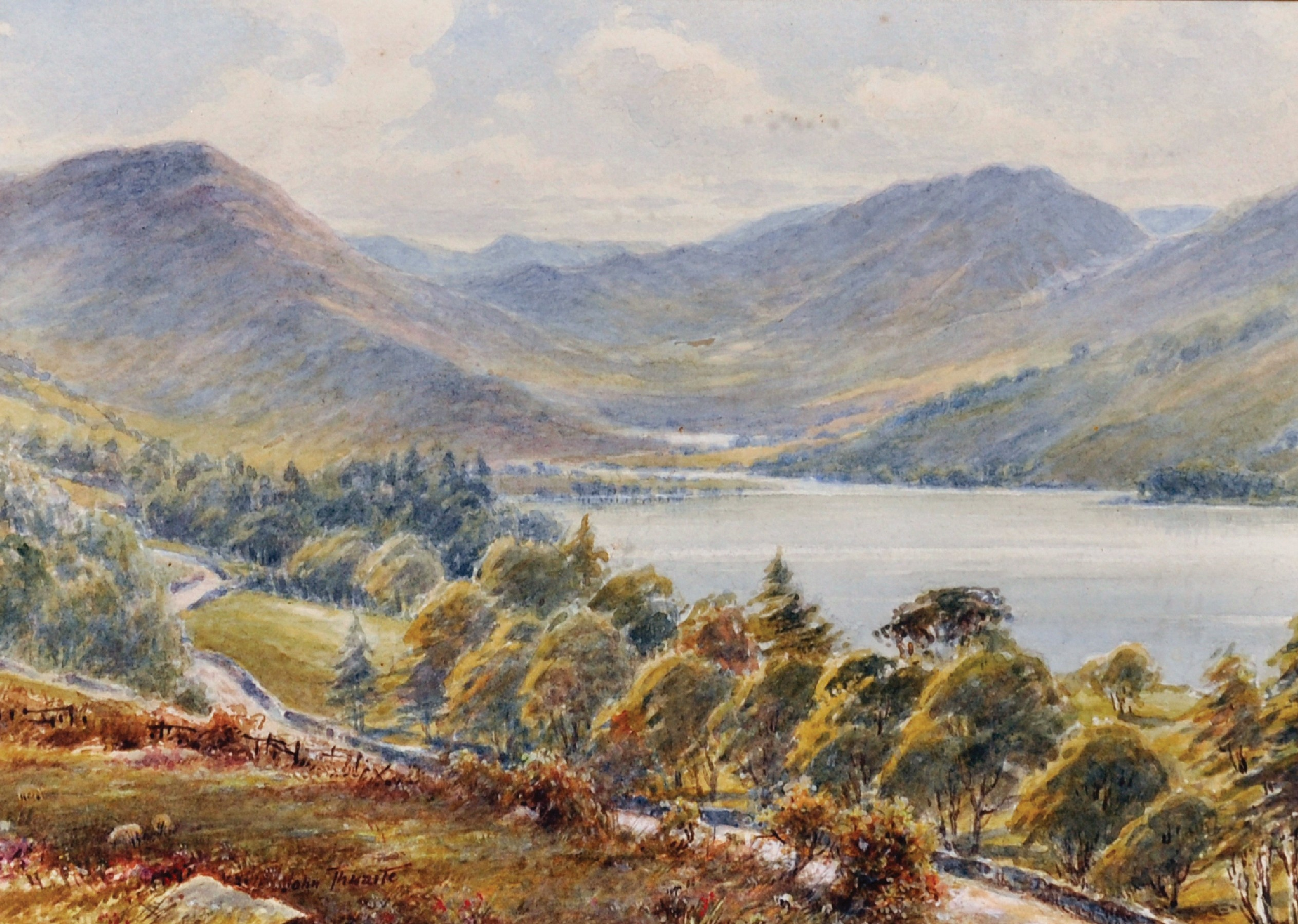 """John Thwaite (19th - 20th Century) British. """"Head of Buttermere"""", Watercolour, Signed, and Inscribed"""