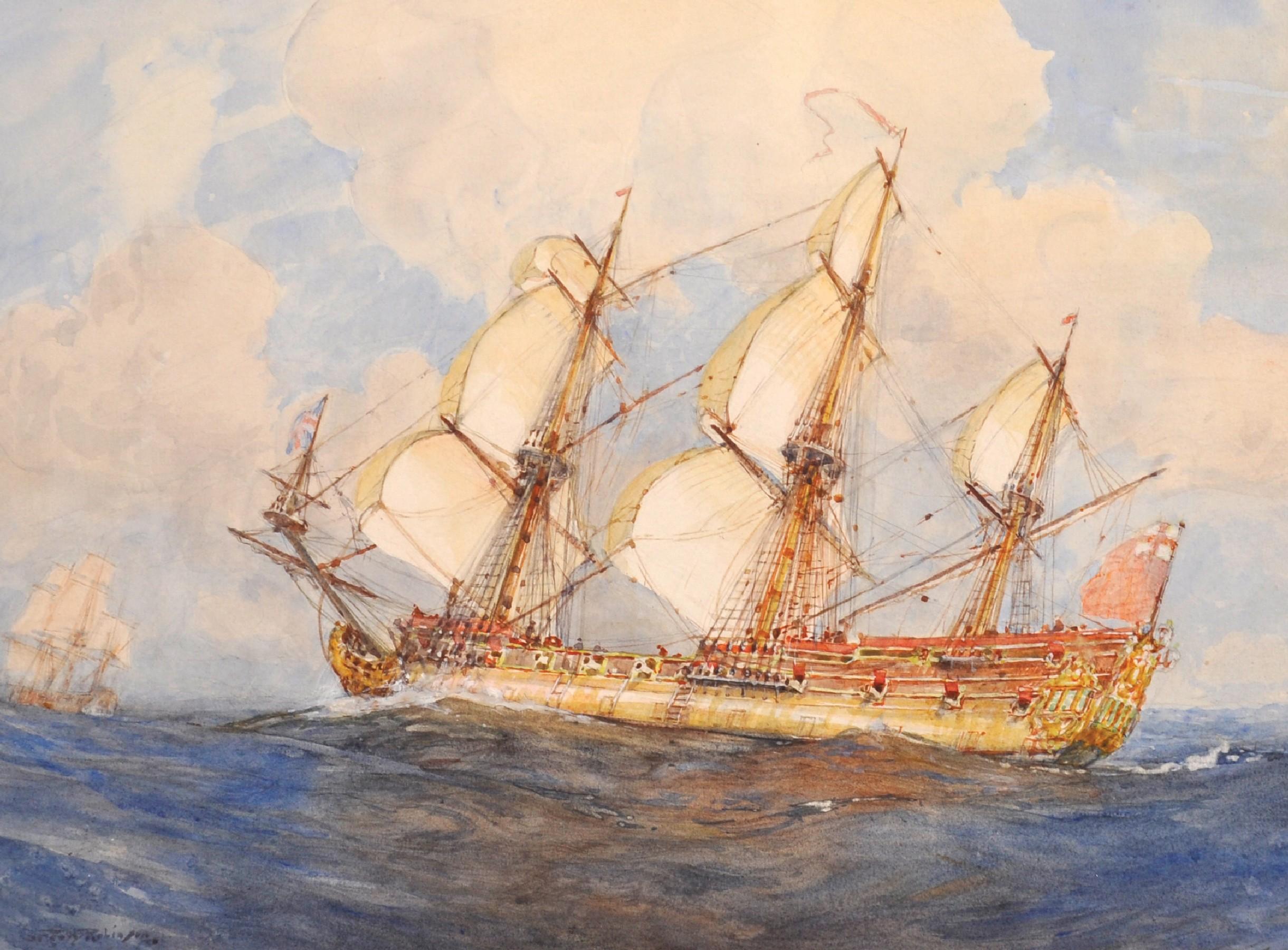 Gregory Robinson (1876-1967) British. Three Masted Sailing Ship at Sea, Watercolour, Signed, 10.
