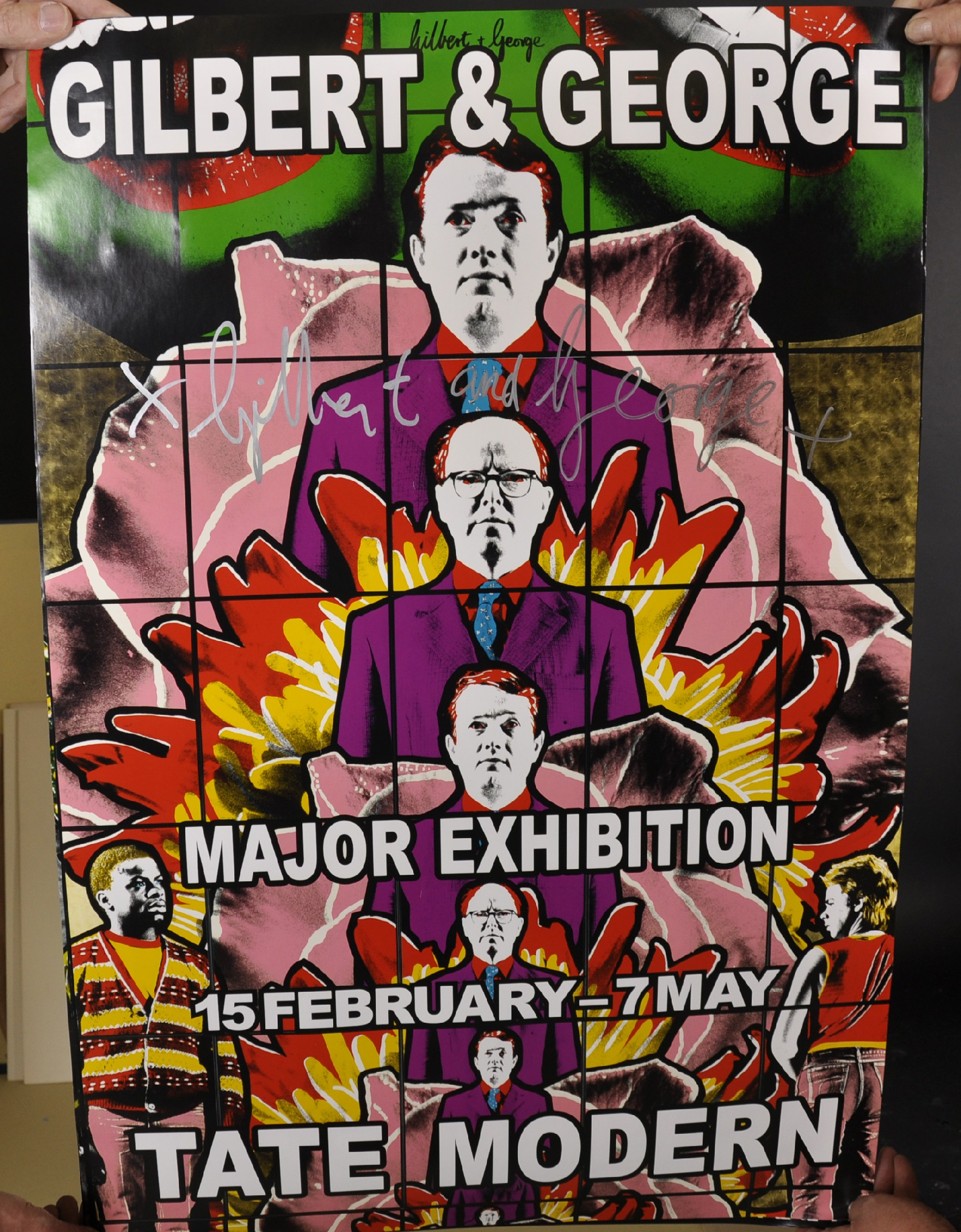 "Gilbert and George (20th - 21st Century) British. ""Major Exhibition Tate Modern"", Poster, Signed - Image 2 of 6"