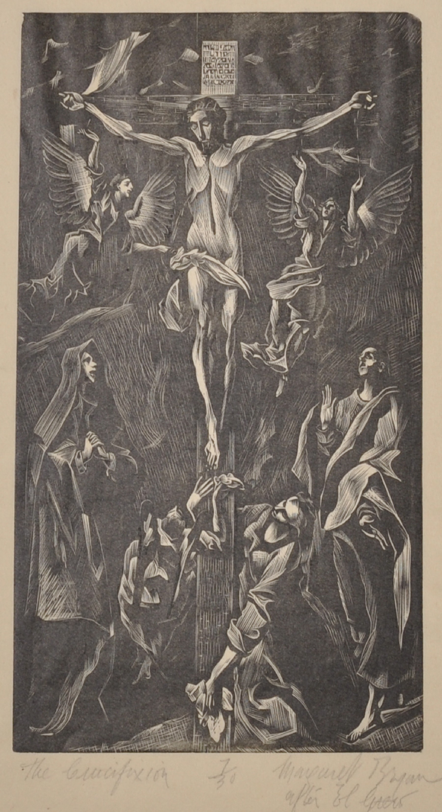 D. Margaret Bryan (19th - 20th Century) British. 'The Crucifixion', after El Greco, Woodcut, Signed,