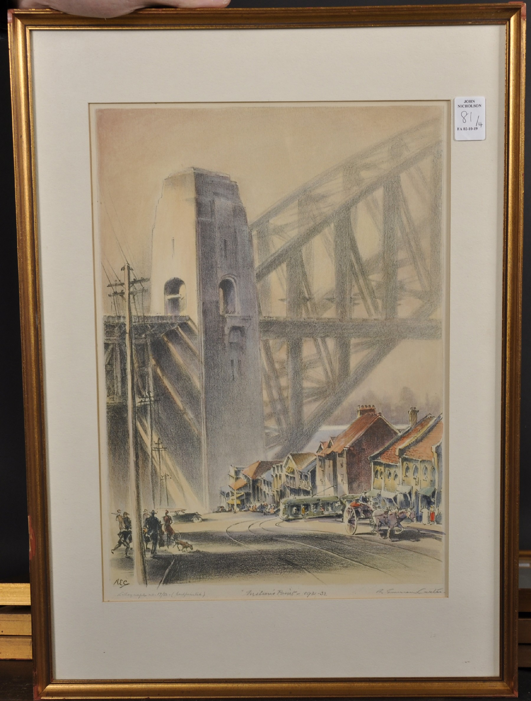 "Robert Emerson Curtis (1898-1996) British/Australian. ""The Bridge from Woolloomooloo"", with Sydney - Image 5 of 12"