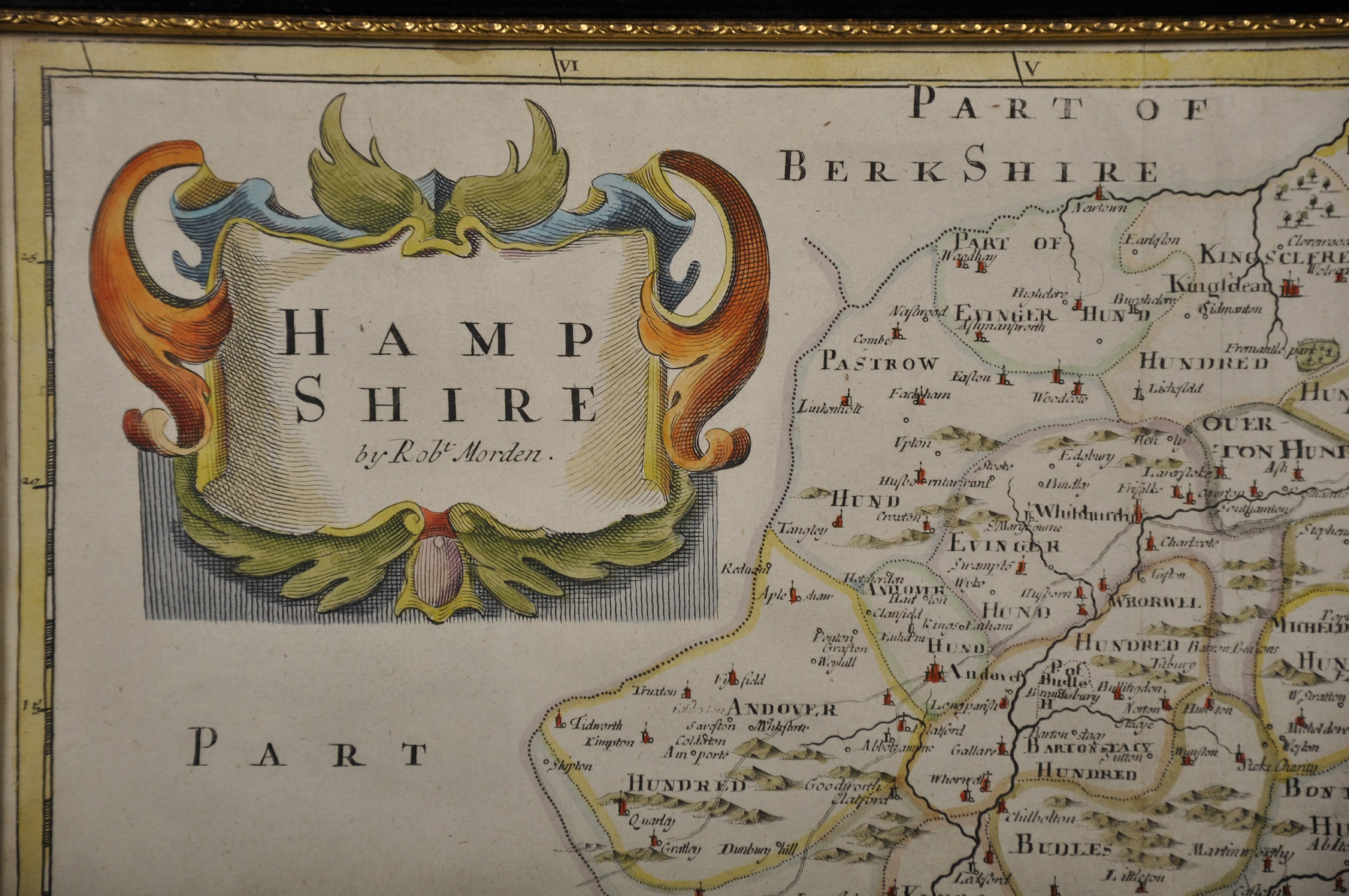 "Robert Morden (c1650-1703) British. ""Hampshire"", Map, Reprint 1720, 15"" x 18"". - Image 3 of 4"